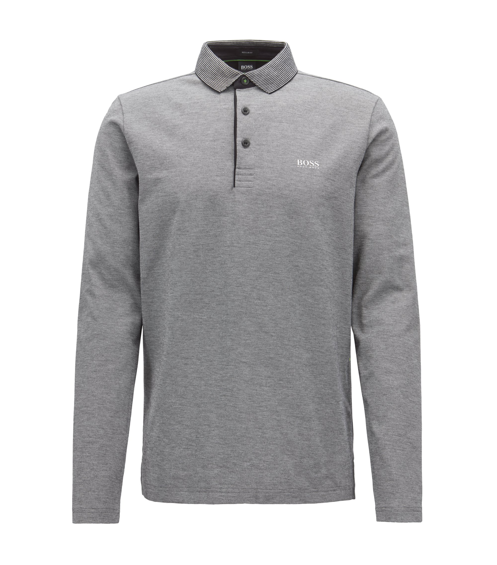 Long-sleeved polo shirt in cotton with striped collar, Black