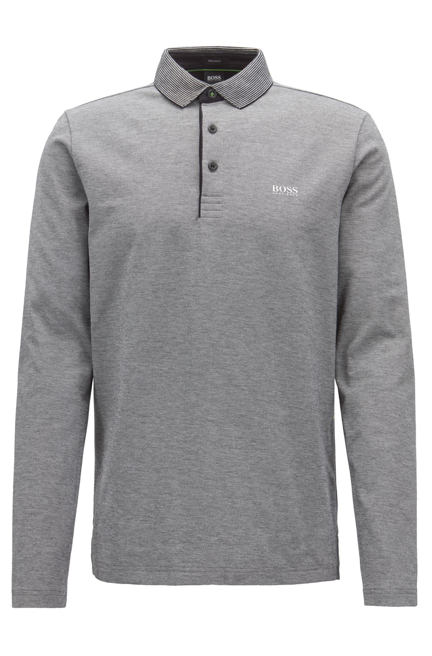 Longsleeve-Poloshirt aus Baumwolle mit gestreiftem Kragen, Schwarz