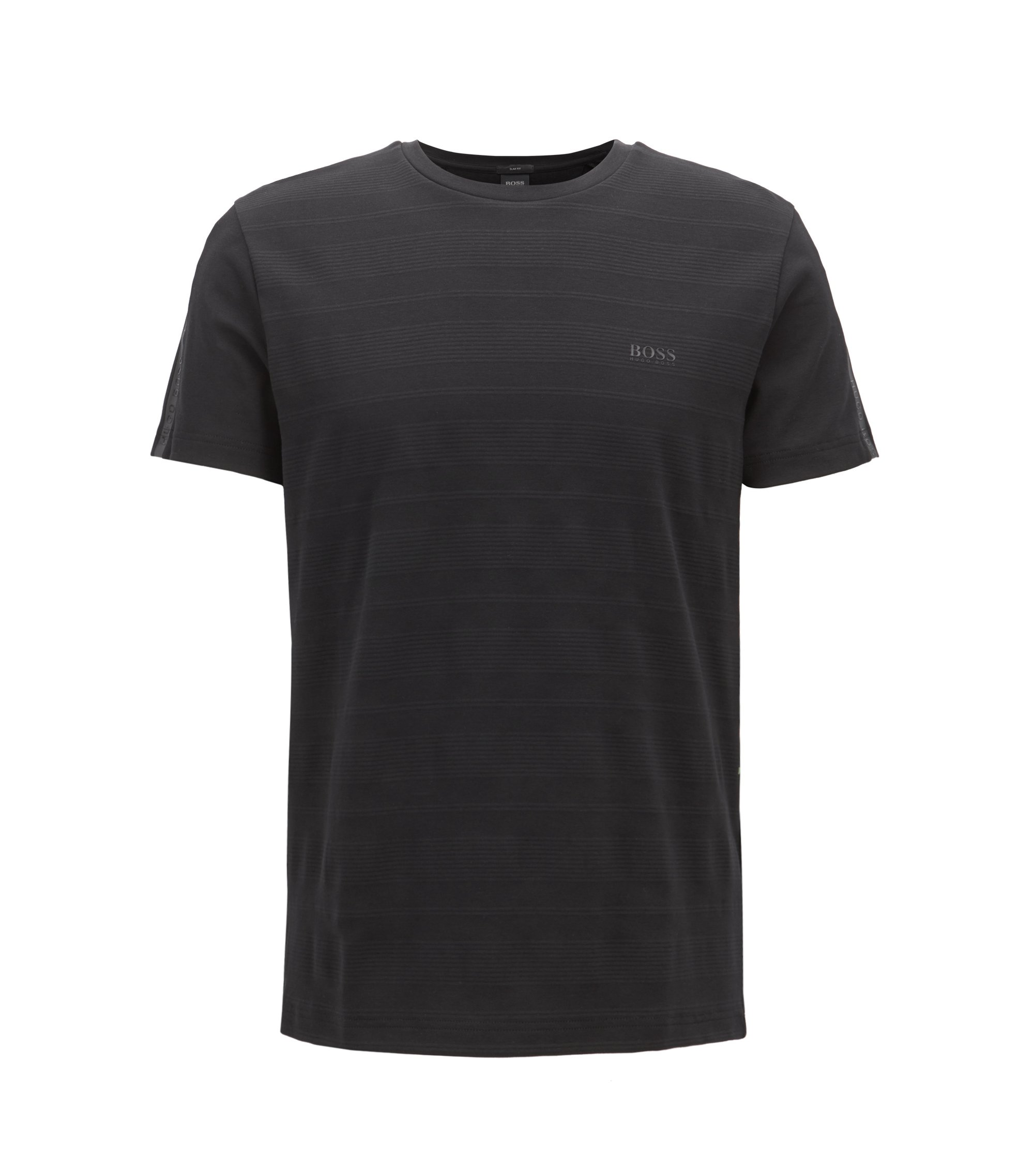 Slim-fit T-shirt in cotton with logo-tape sleeves, Black