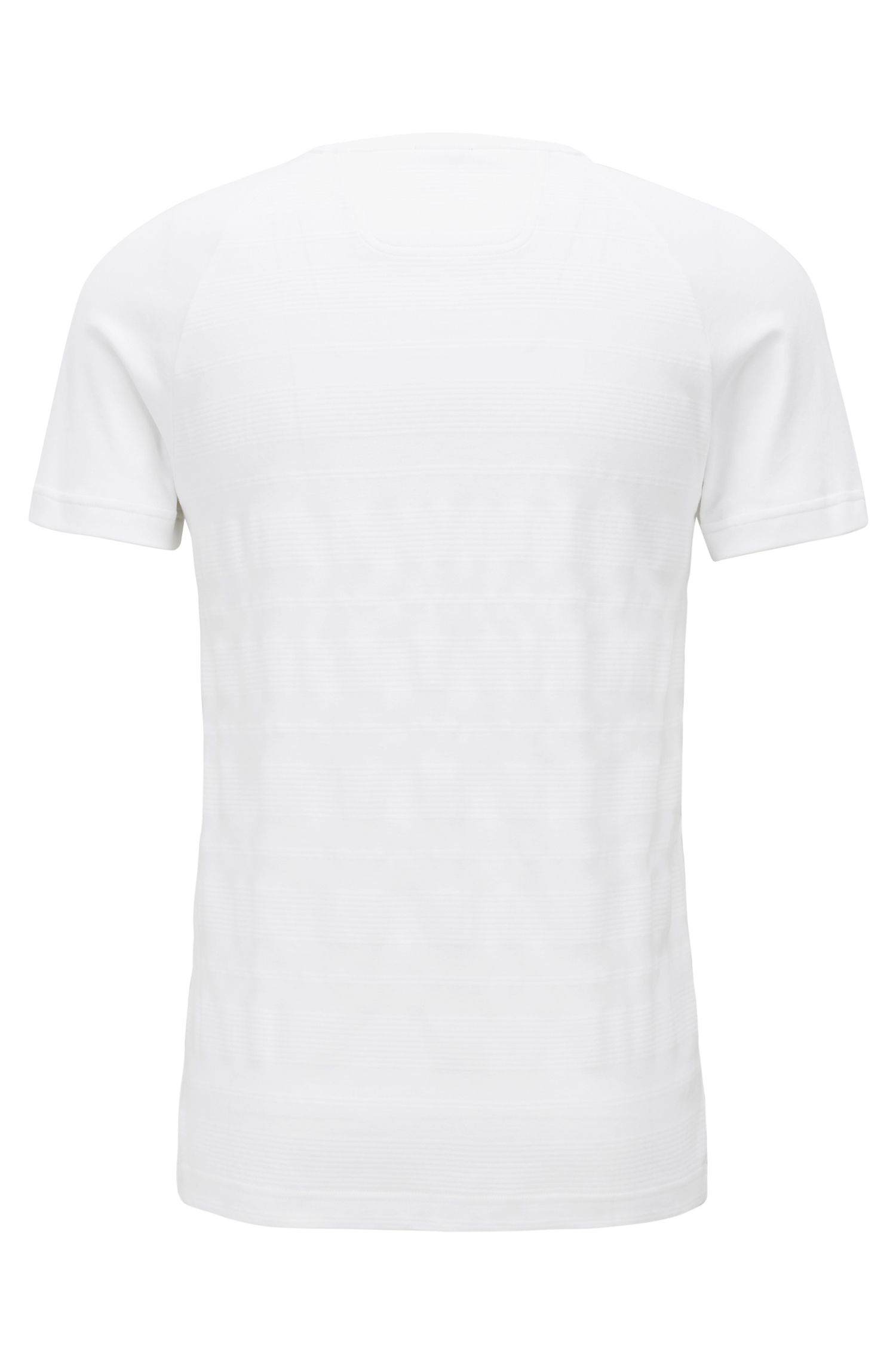 Slim-fit T-shirt in cotton with logo-tape sleeves, White