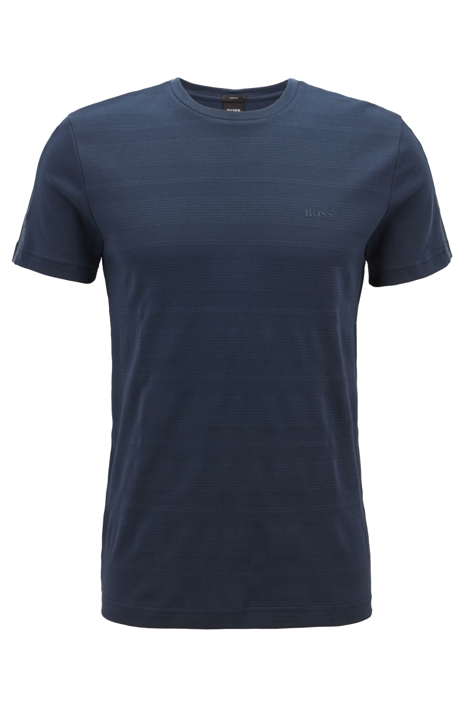 Slim-fit T-shirt in cotton with logo-tape sleeves, Dark Blue