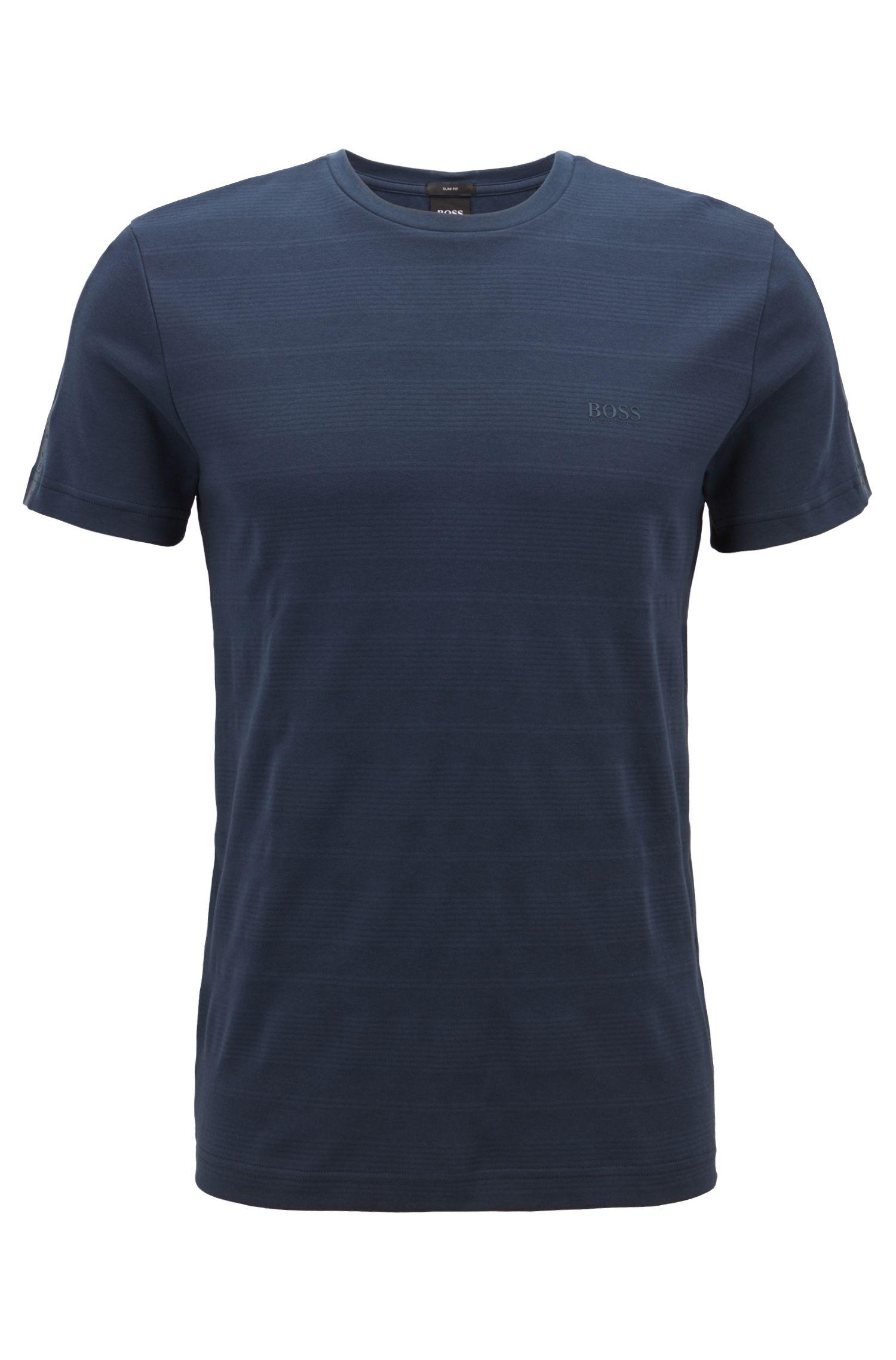 T-shirt slim fit in cotone con fettuccia con logo sulle maniche, Blu scuro