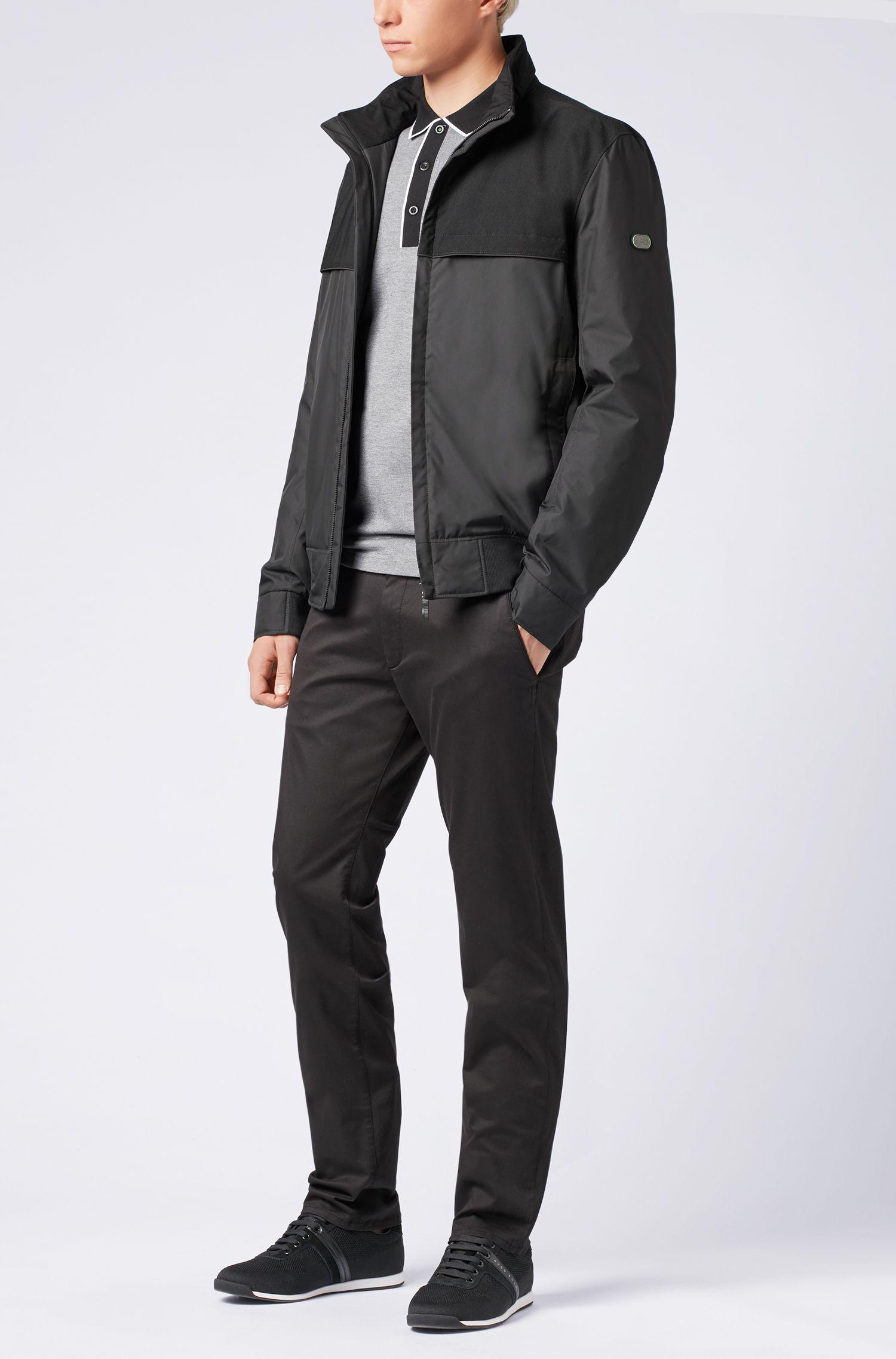 Regular-fit polo shirt in three-coloured cotton piqué, Black