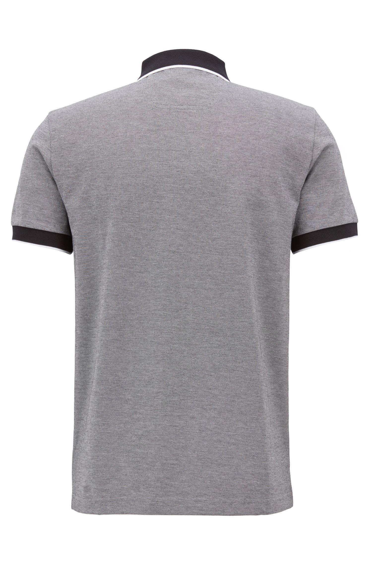 Poloshirt aus dreifarbigem Baumwoll-Piqué, Schwarz