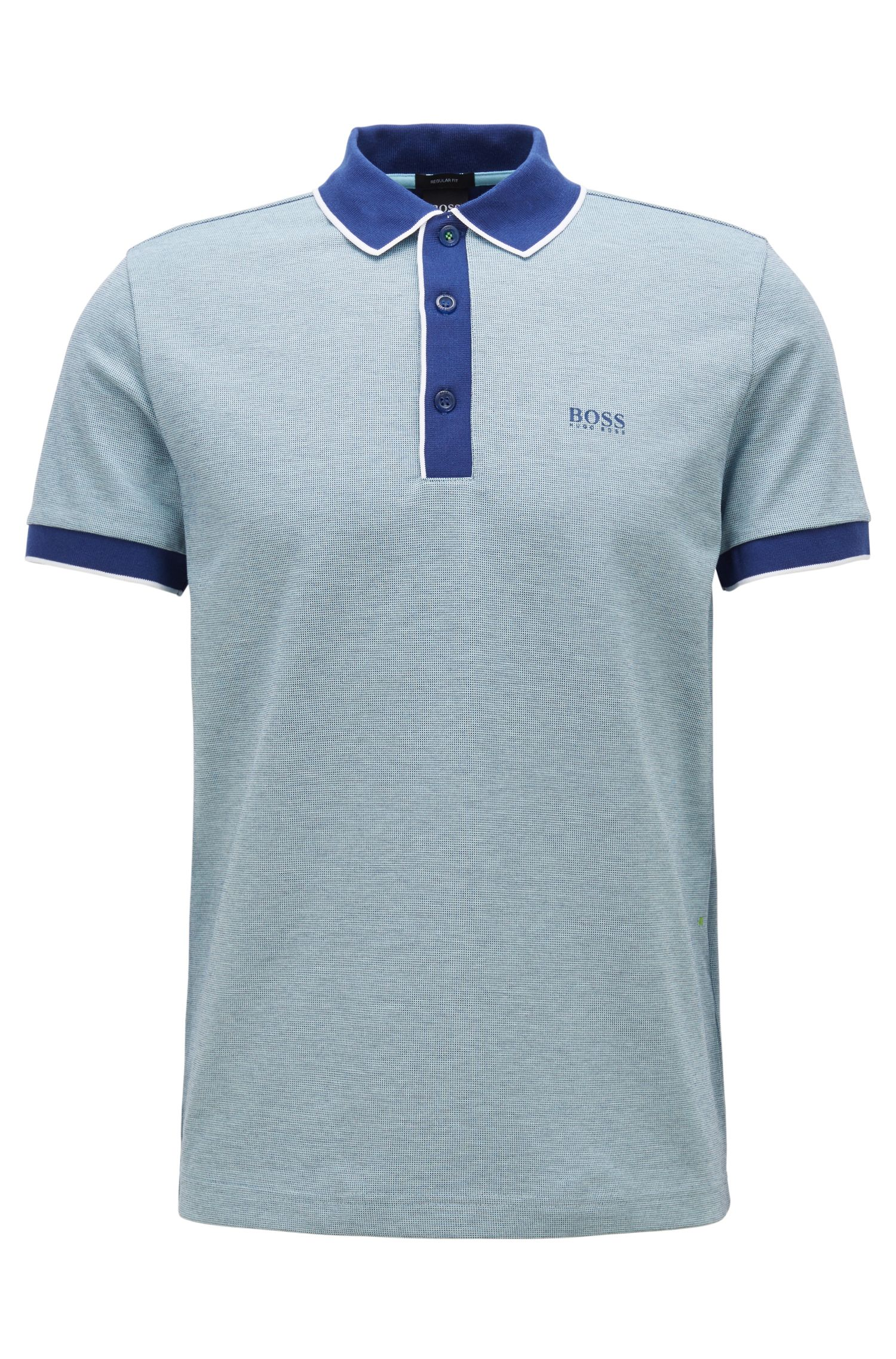 Regular-fit polo shirt in three-coloured cotton piqué, Blue