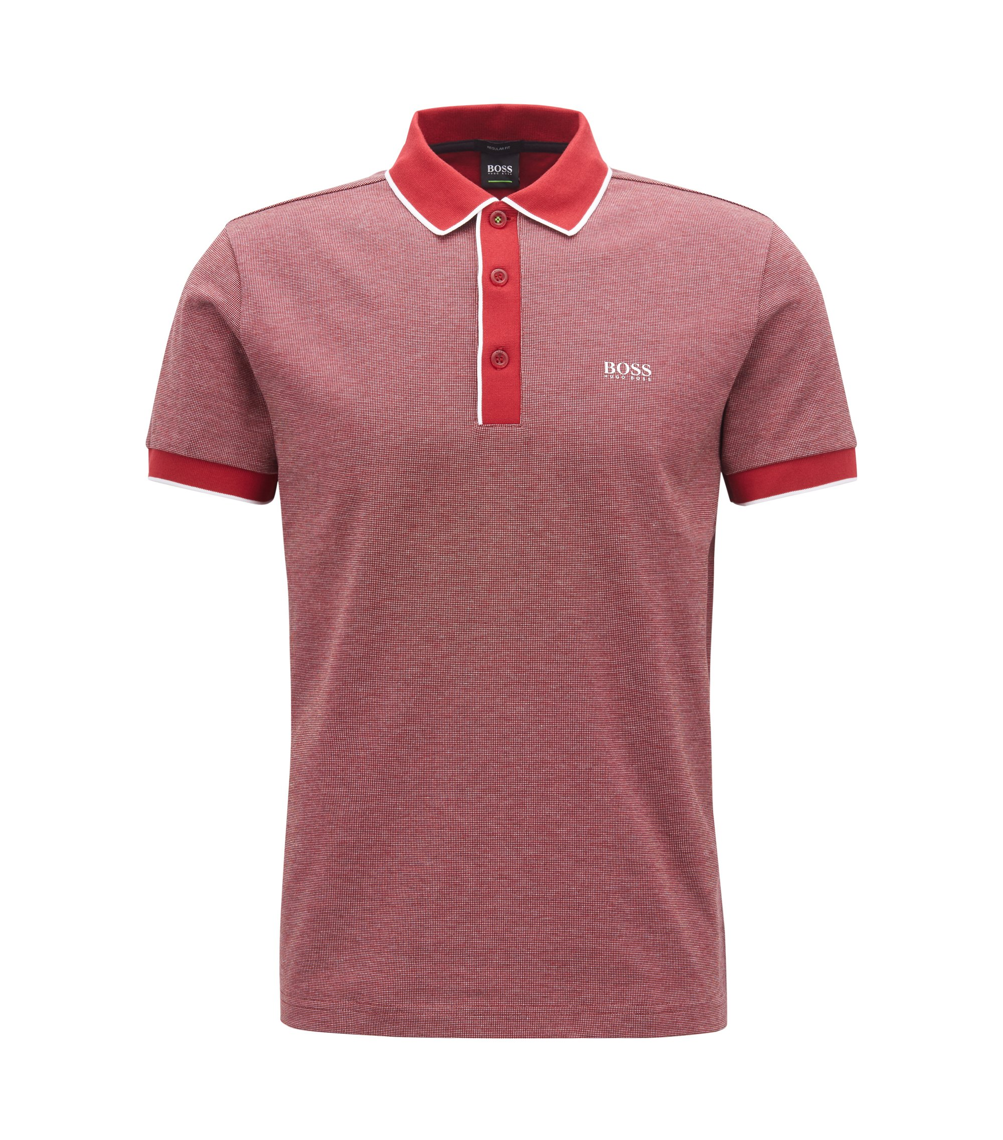 Regular-fit polo shirt in three-coloured cotton piqué, Dark Red