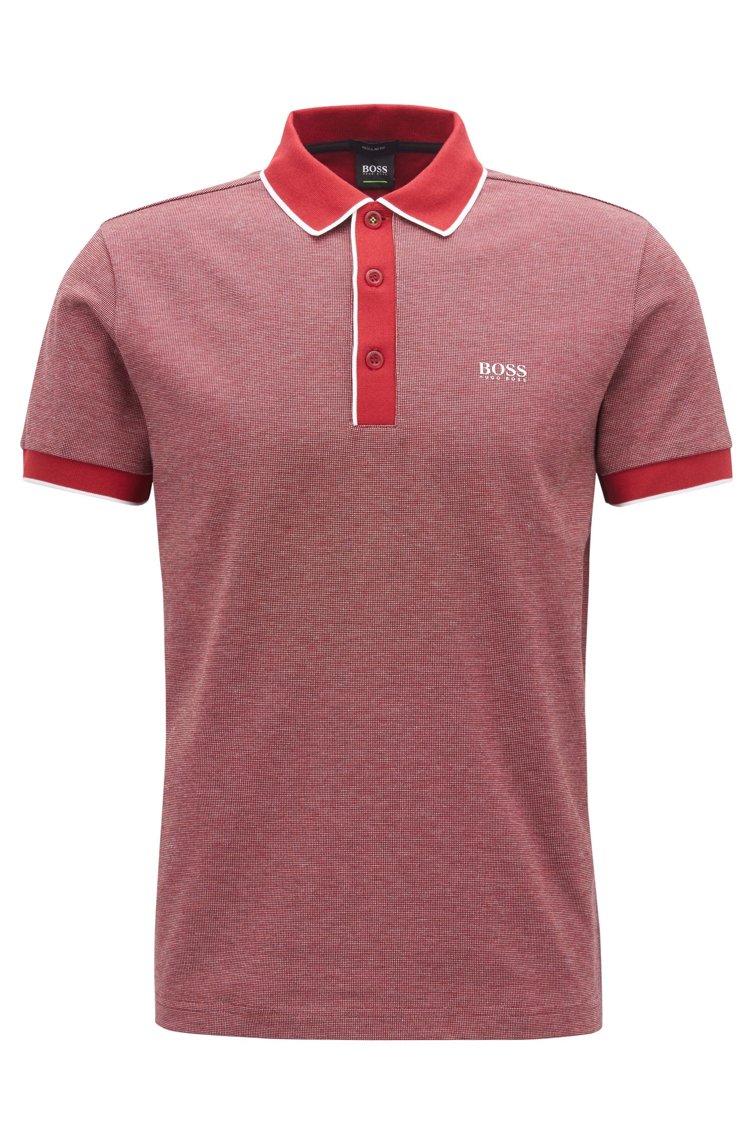 Polo Regular Fit en piqué de coton tricolore, Rouge sombre