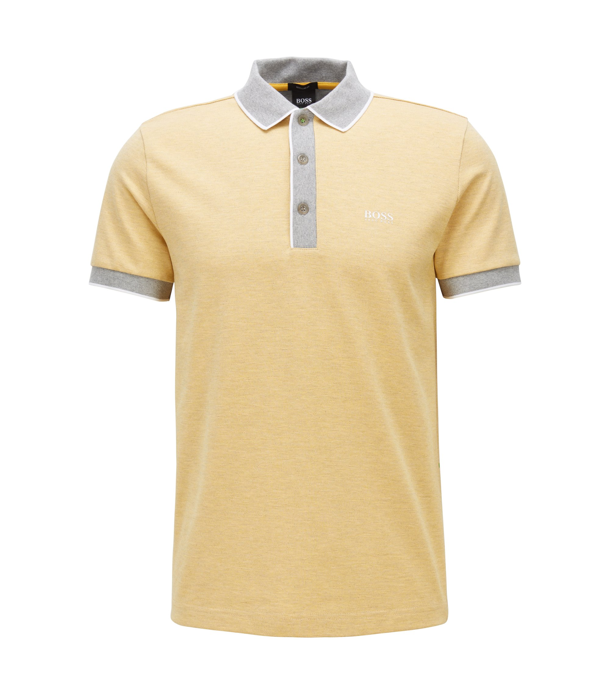 Regular-fit polo shirt in three-coloured cotton piqué, Light Yellow