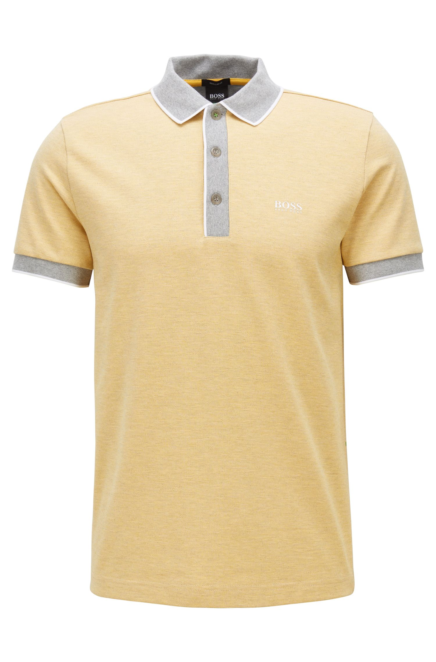 Polo regular fit en piqué de algodón de 3 colores, Amarillo claro