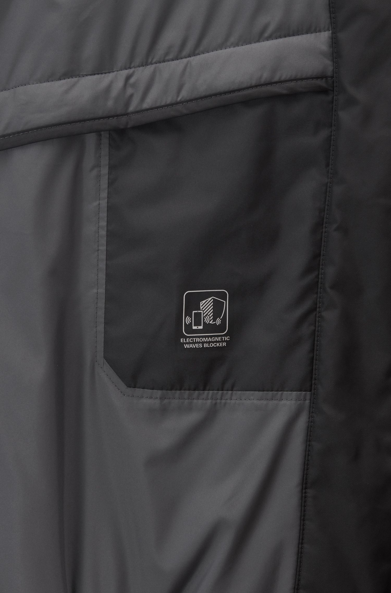 Water-repellent padded jacket with electromagnetic-wave blocker