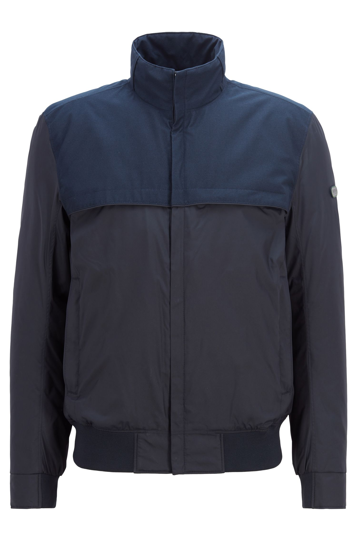 Water-repellent padded jacket with electromagnetic-wave blocker, Dark Blue