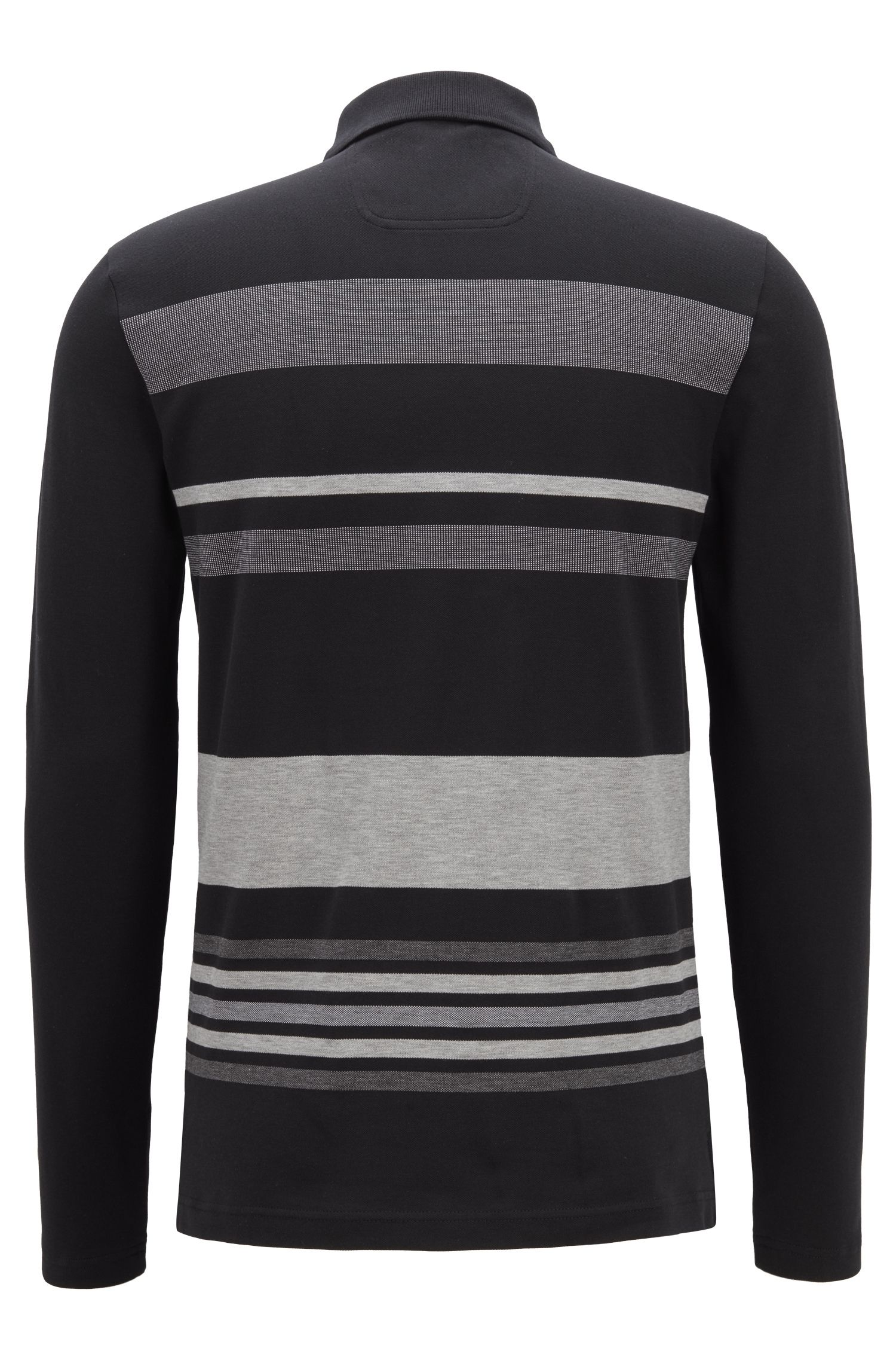 Long-sleeved polo shirt in striped stretch-cotton piqué, Black
