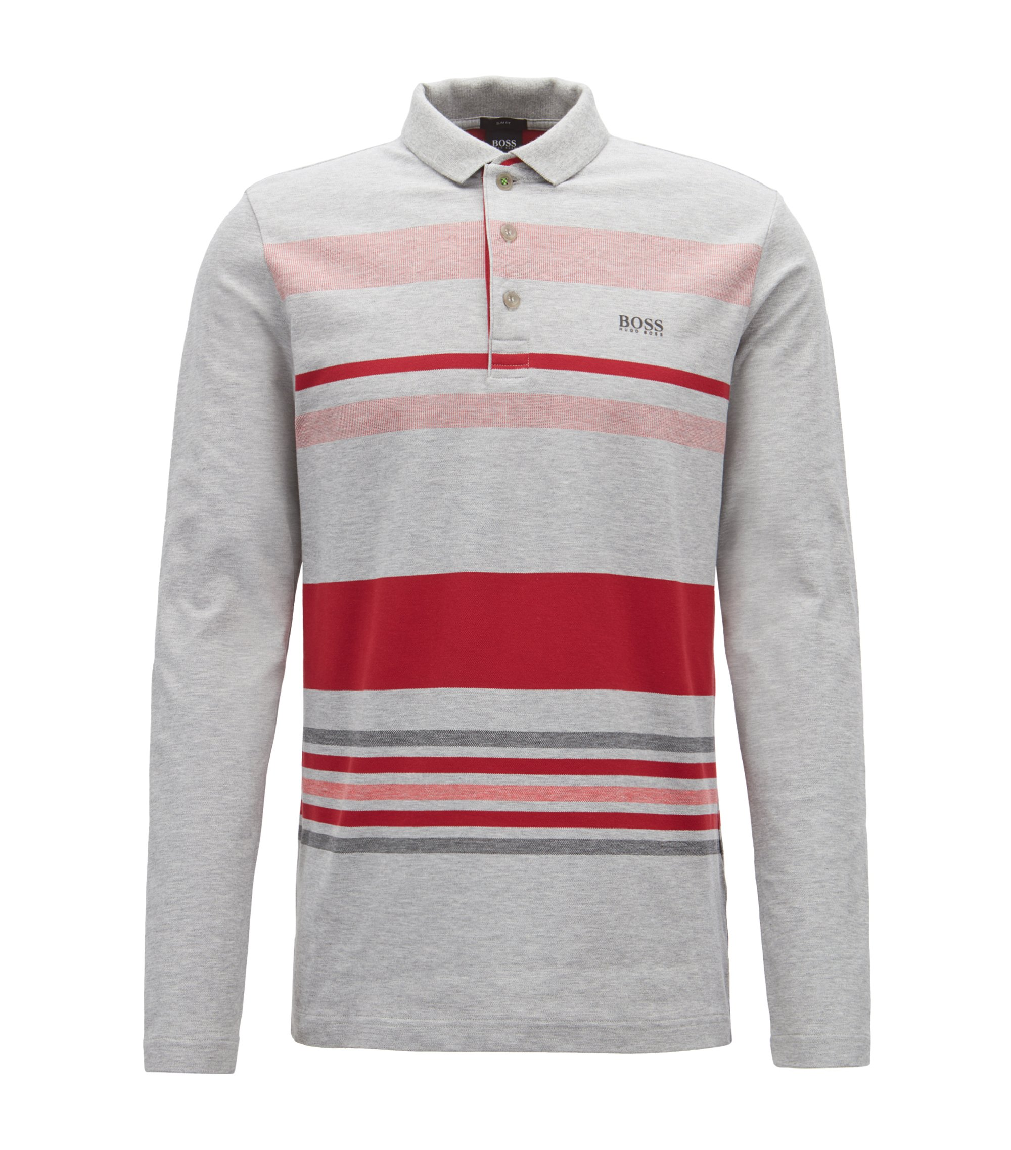 Long-sleeved polo shirt in striped stretch-cotton piqué, Light Grey