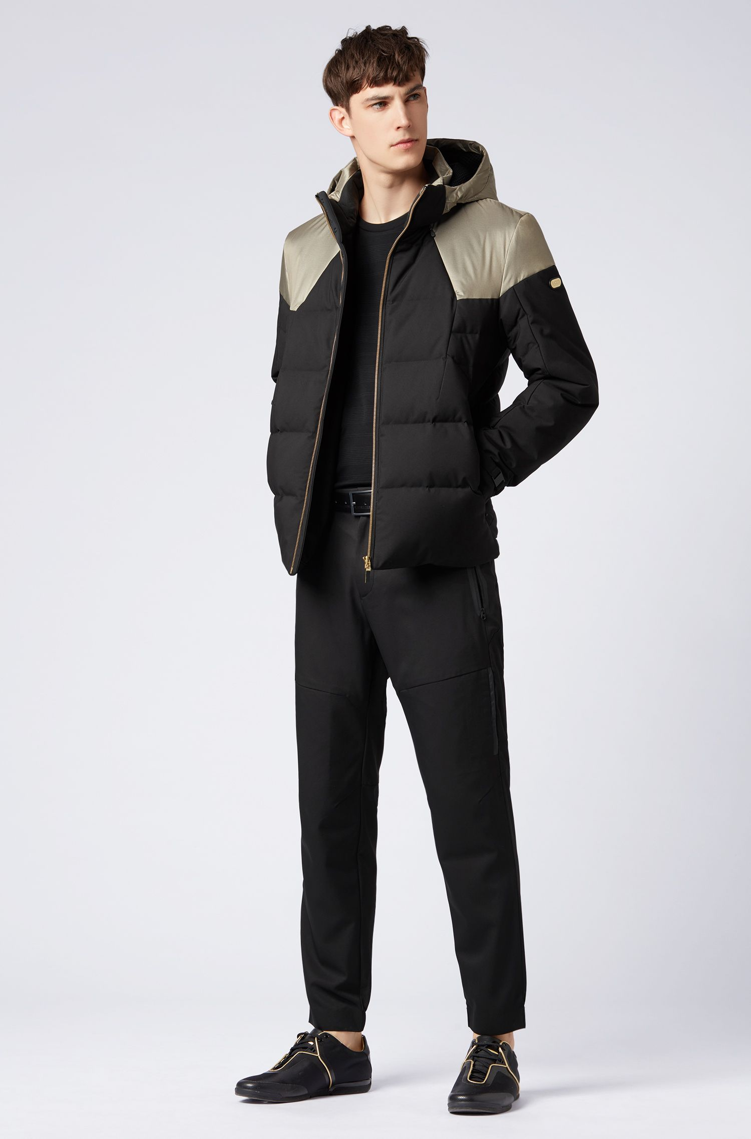 Water-repellent down-filled jacket with electromagnetic-wave blocker, Black