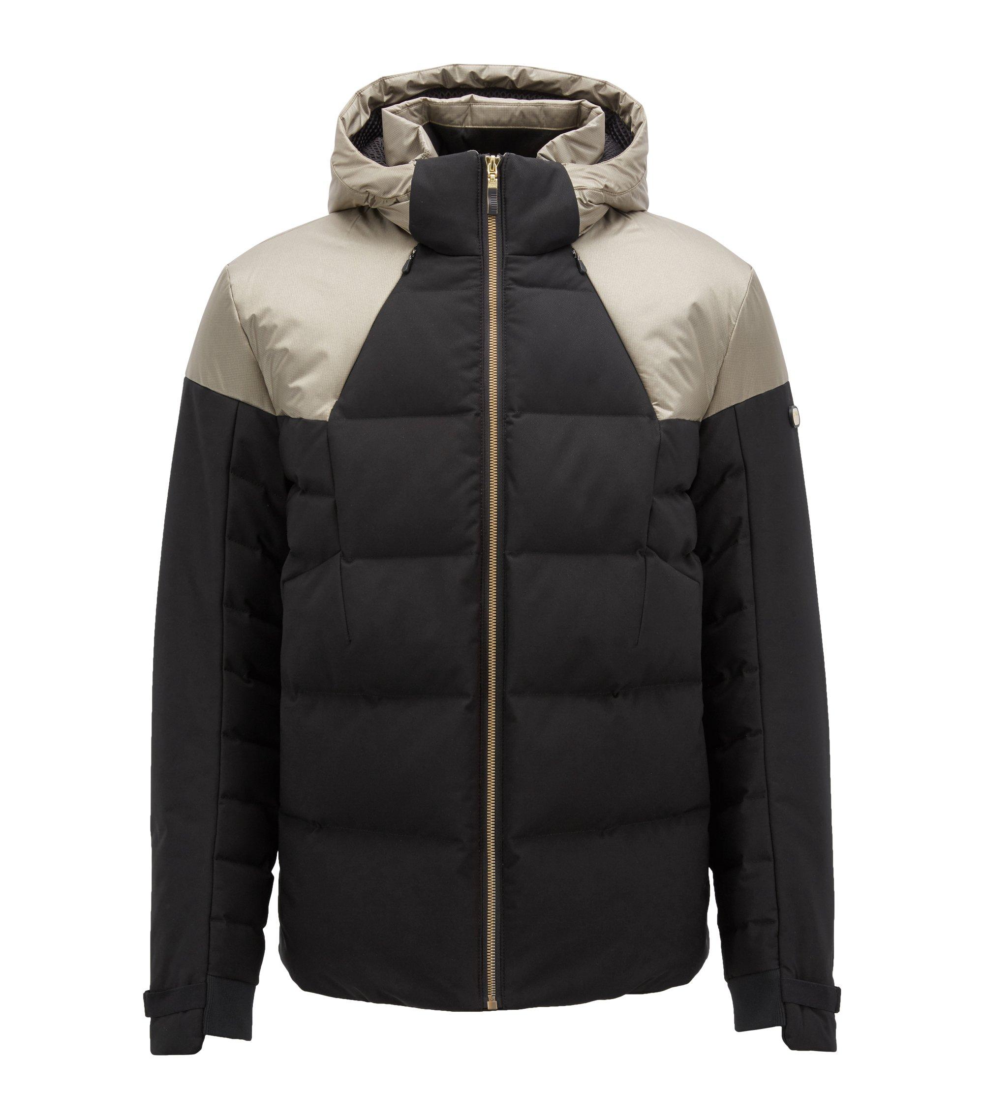 Waterafstotende jas met donsvulling en bescherming tegen elektromagnetische straling, Zwart