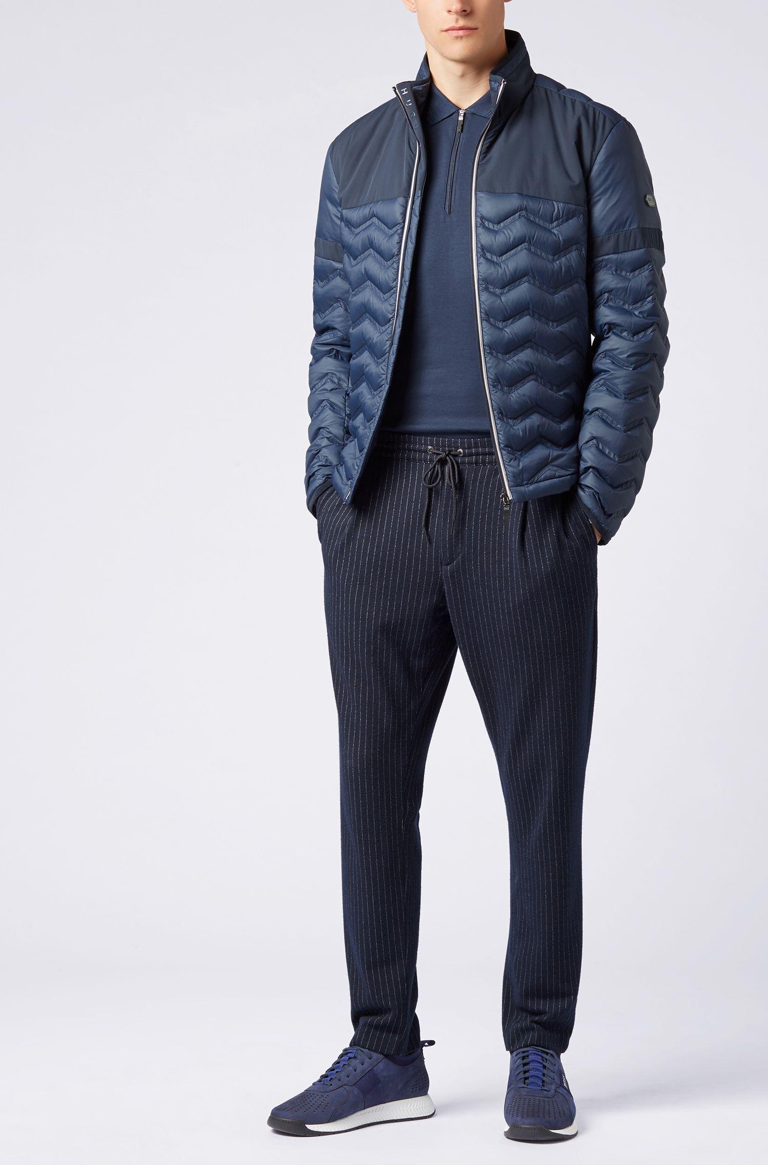 Polo zippé en coton à rayures ton sur ton, Bleu foncé