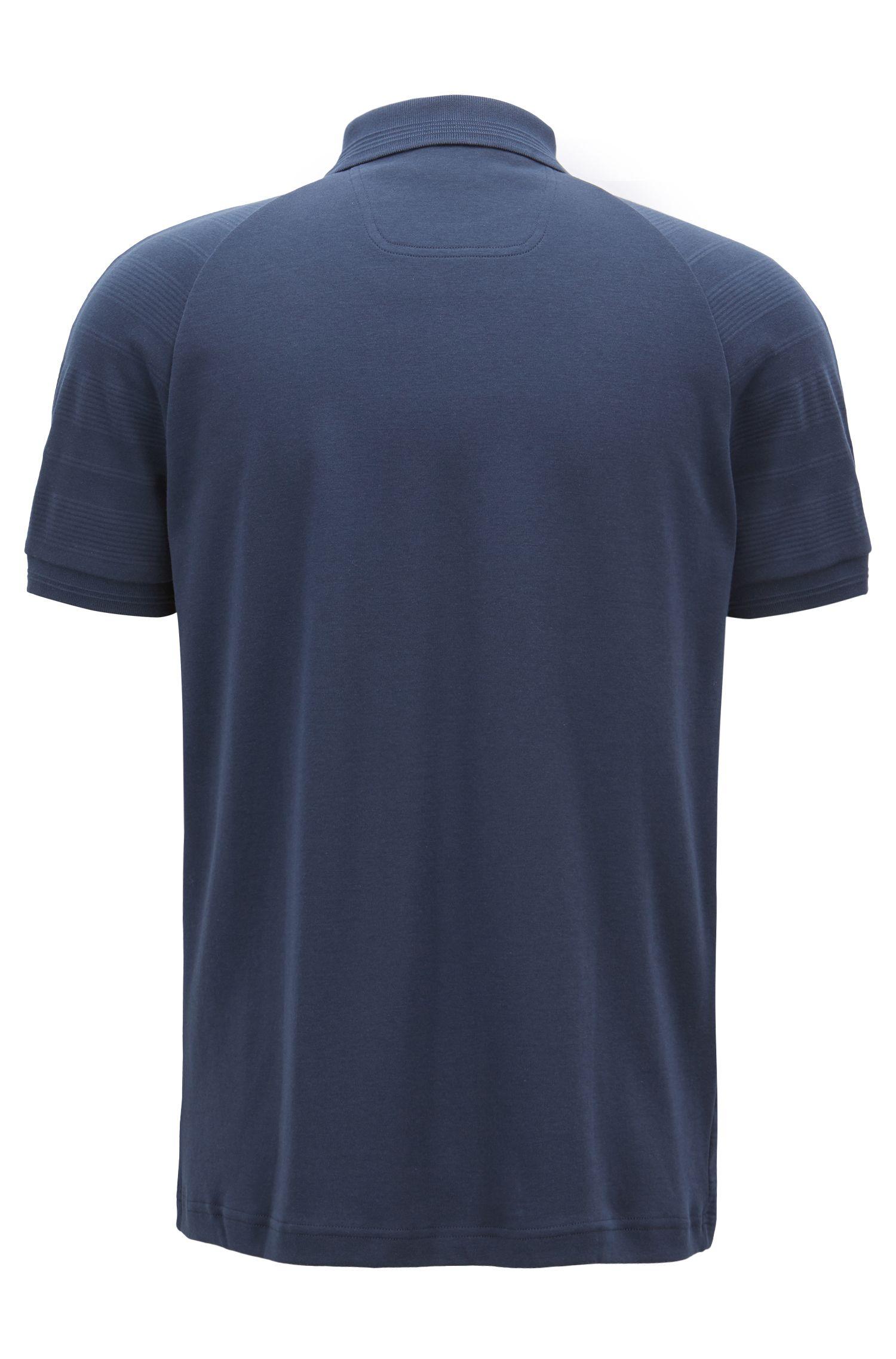 Polo van katoen met rits en ton-sur-ton strepen, Donkerblauw