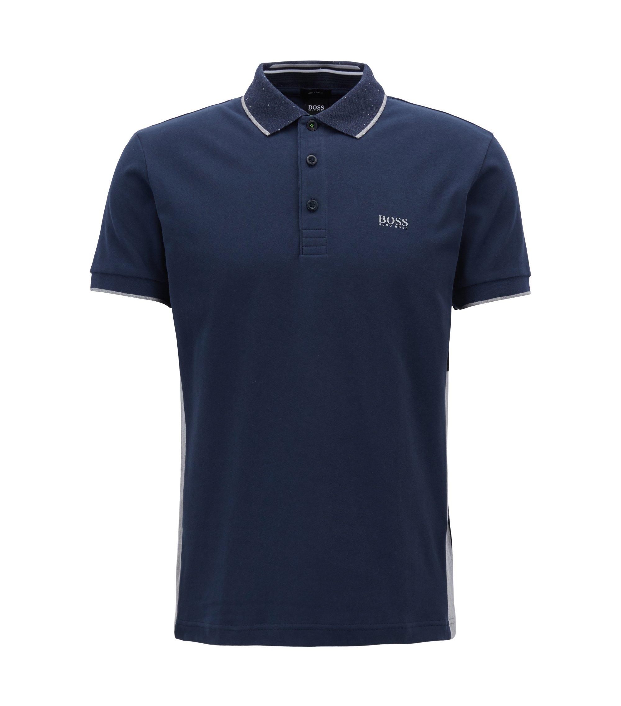 Polo Regular Fit en jersey de coton effet daim, Bleu foncé