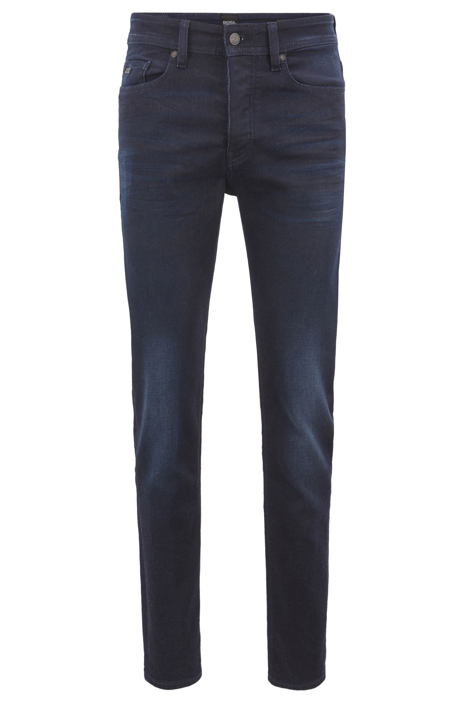 Jeans tapered fit in denim elasticizzato con filati di qualità, Blu scuro