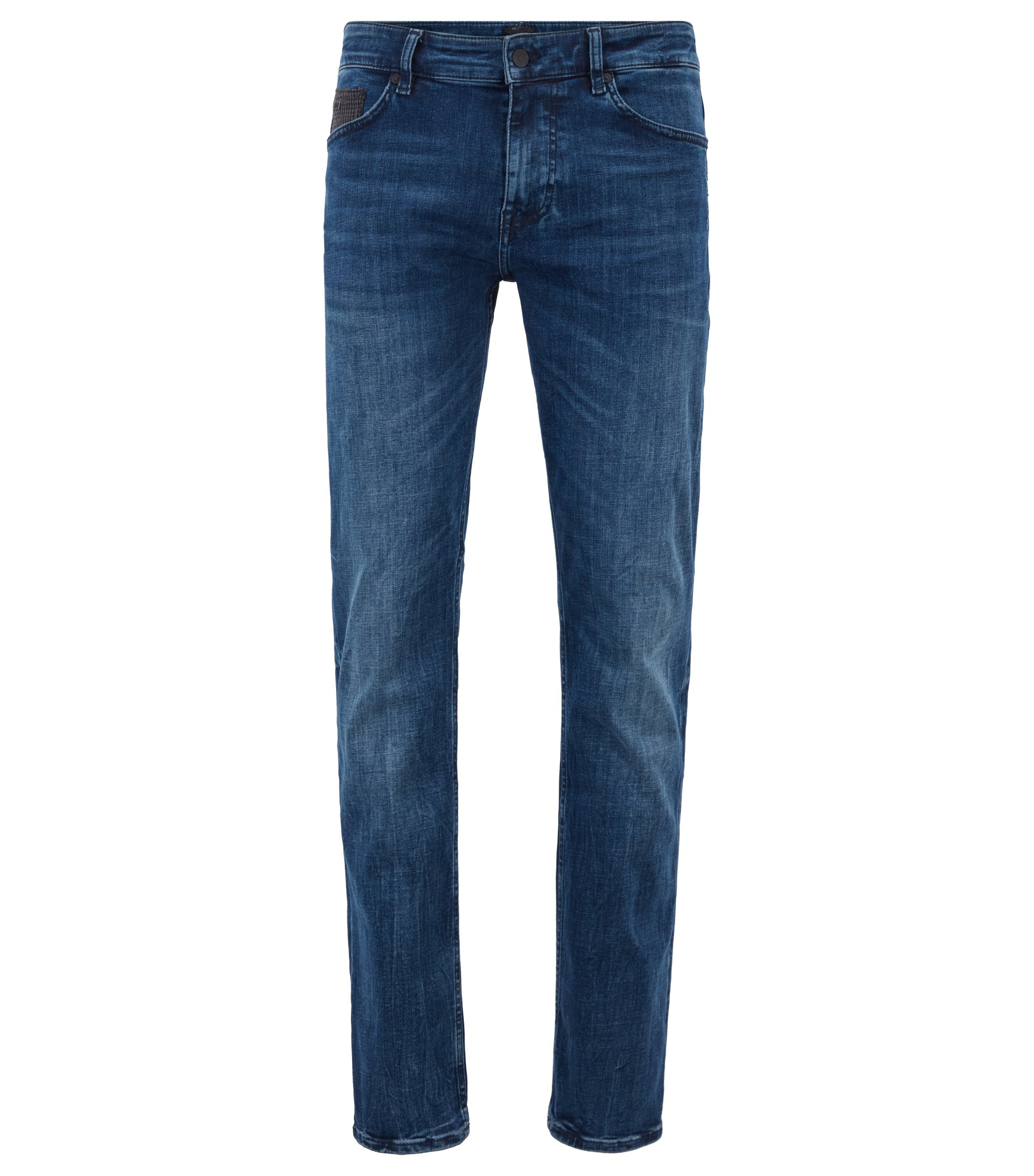 Jeans slim fit in denim super-elasticizzato con trama mélange, Blu