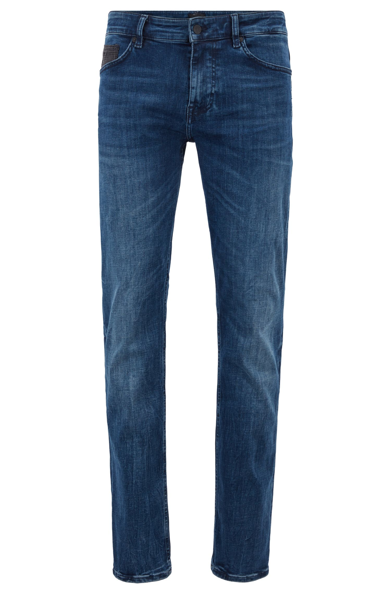 Slim-fit jeans in melange-weft super-stretch denim, Blue