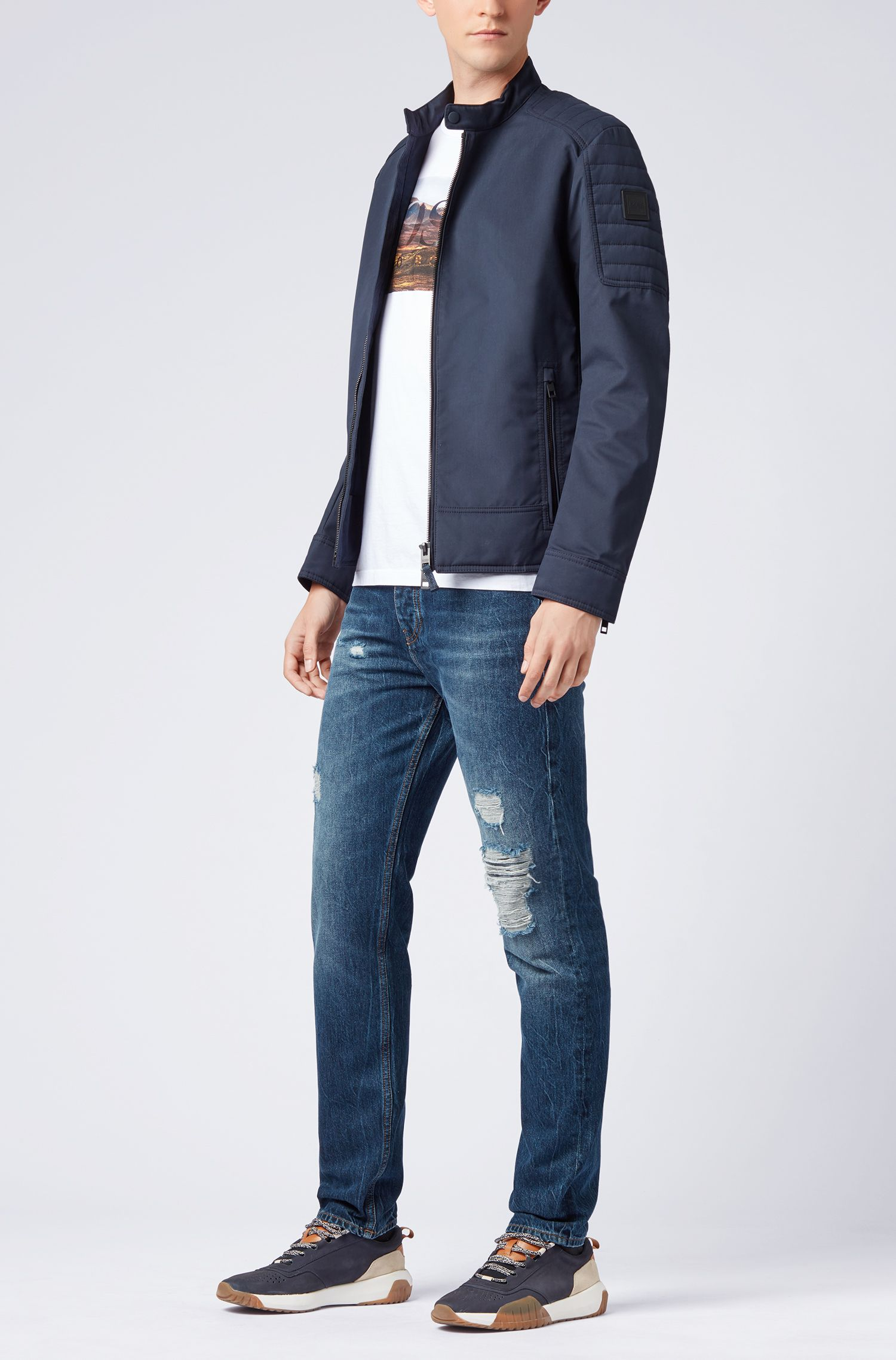 Tapered-fit jeans van stonewashed, gerecycled, Spaans denim, Blauw