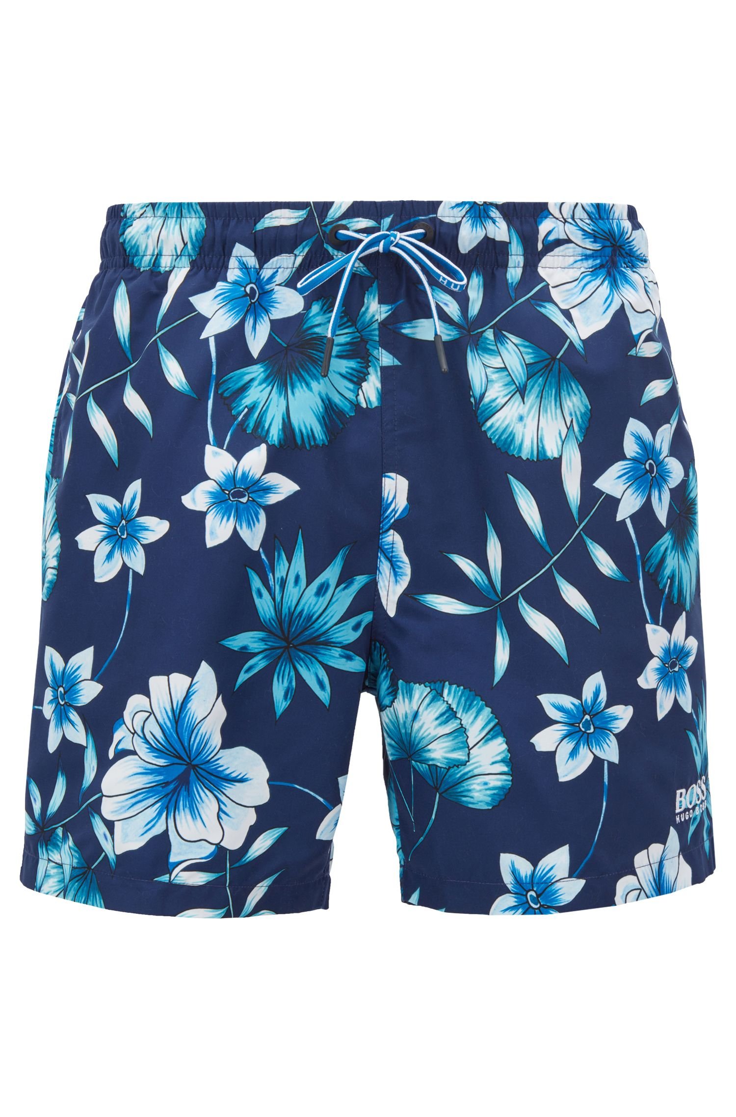 Floral-print swim shorts in quick-drying technical fabric