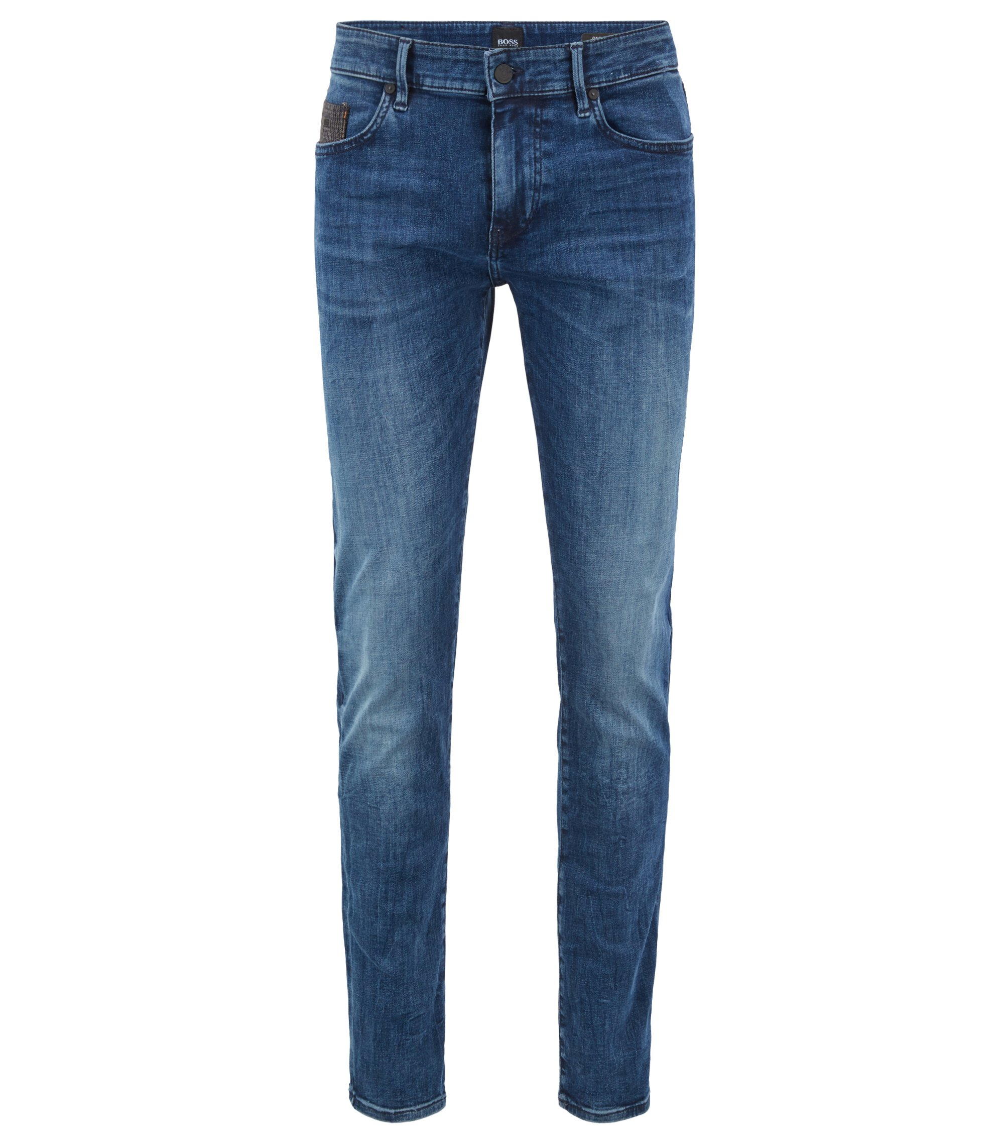 Jean Skinny Fit en denim super stretch à trame chinée, Bleu