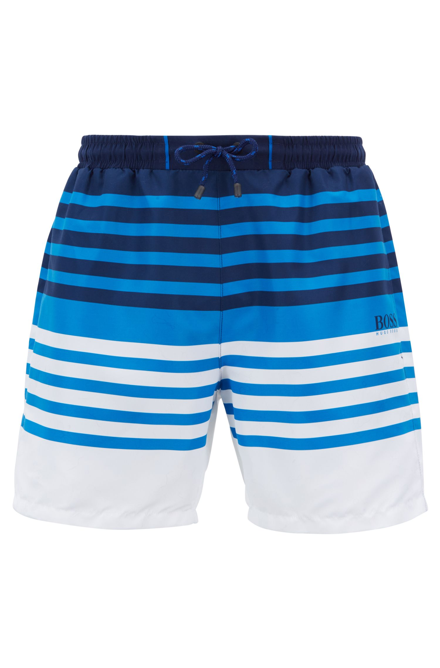 Striped swim shorts in quick-drying technical fabric