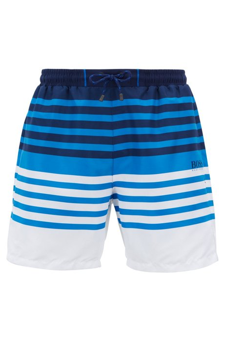 5216dd875e986 Striped swim shorts in quick-drying technical fabric, Open Blue