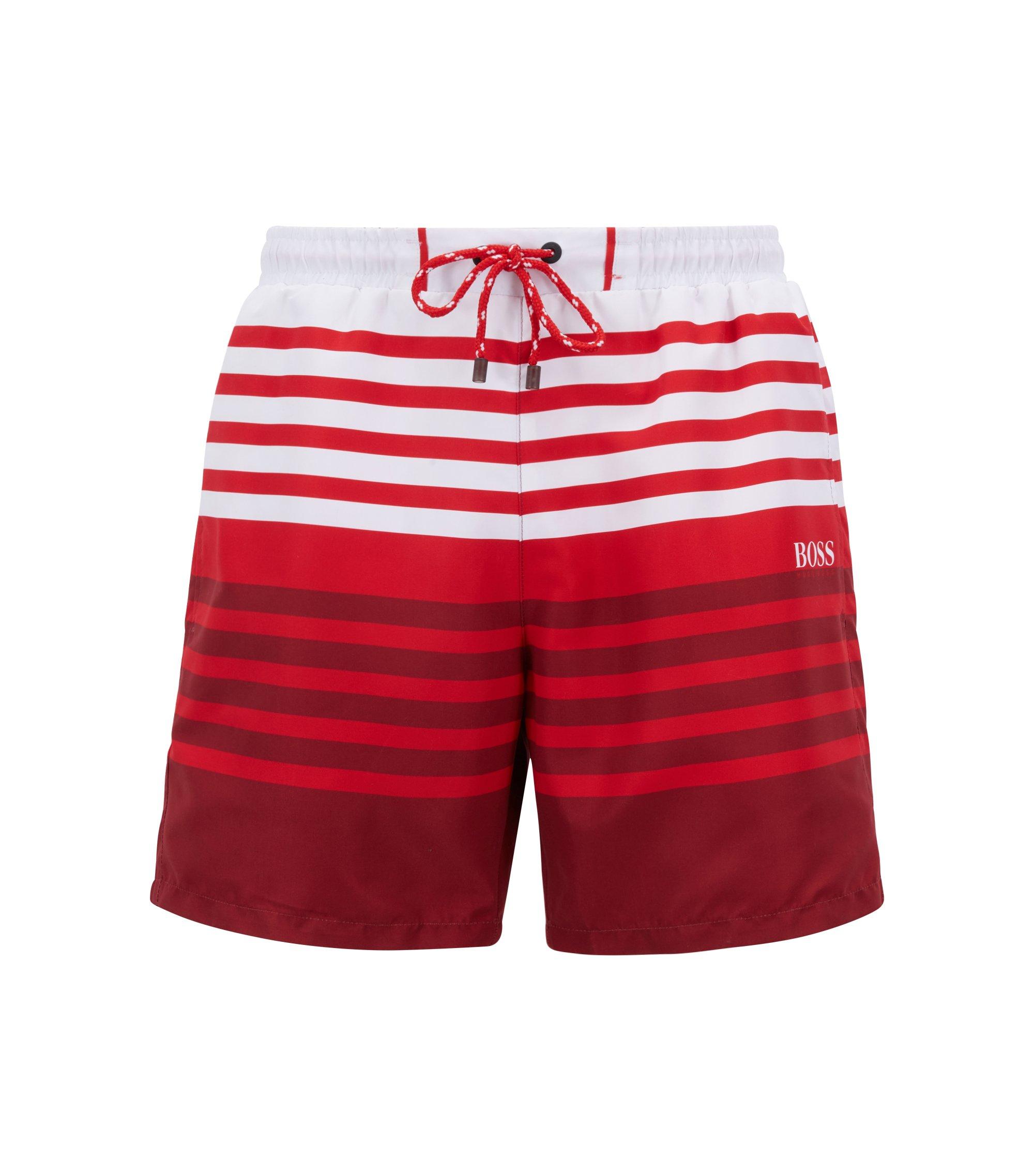 Boxer da bagno a righe in tessuto tecnico ad asciugatura rapida, Rosso chiaro