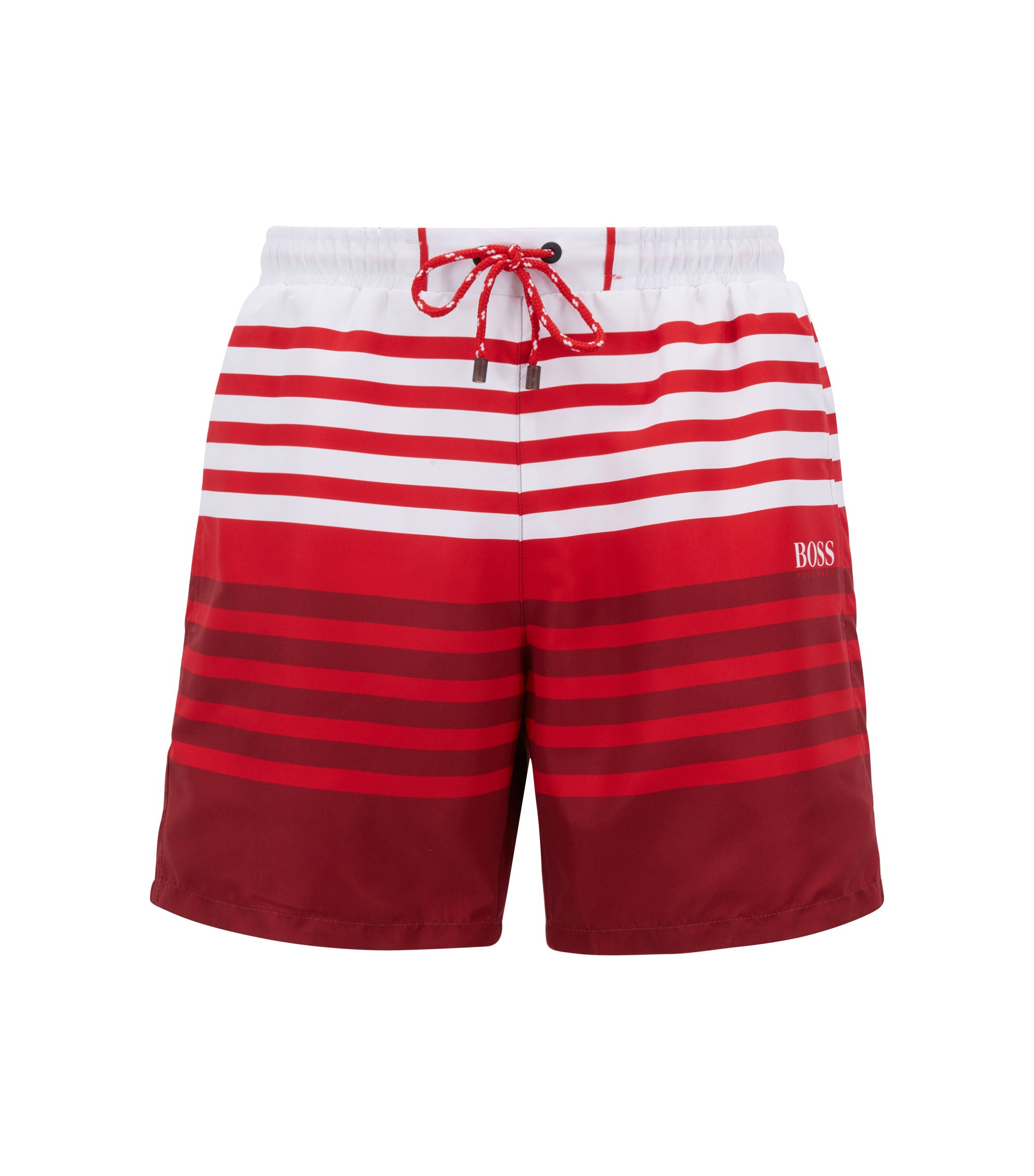 Bañador tipo shorts a rayas en tejido técnico con función de secado rápido, Rojo claro