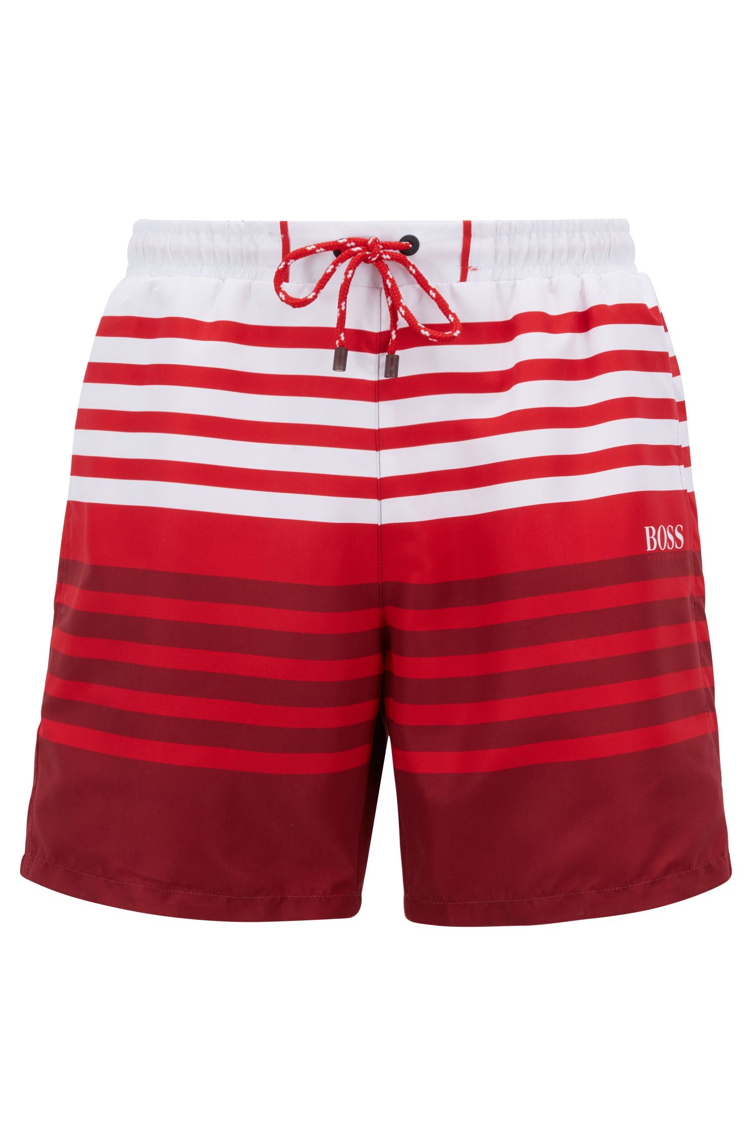 Striped swim shorts in quick-drying technical fabric, Open Red