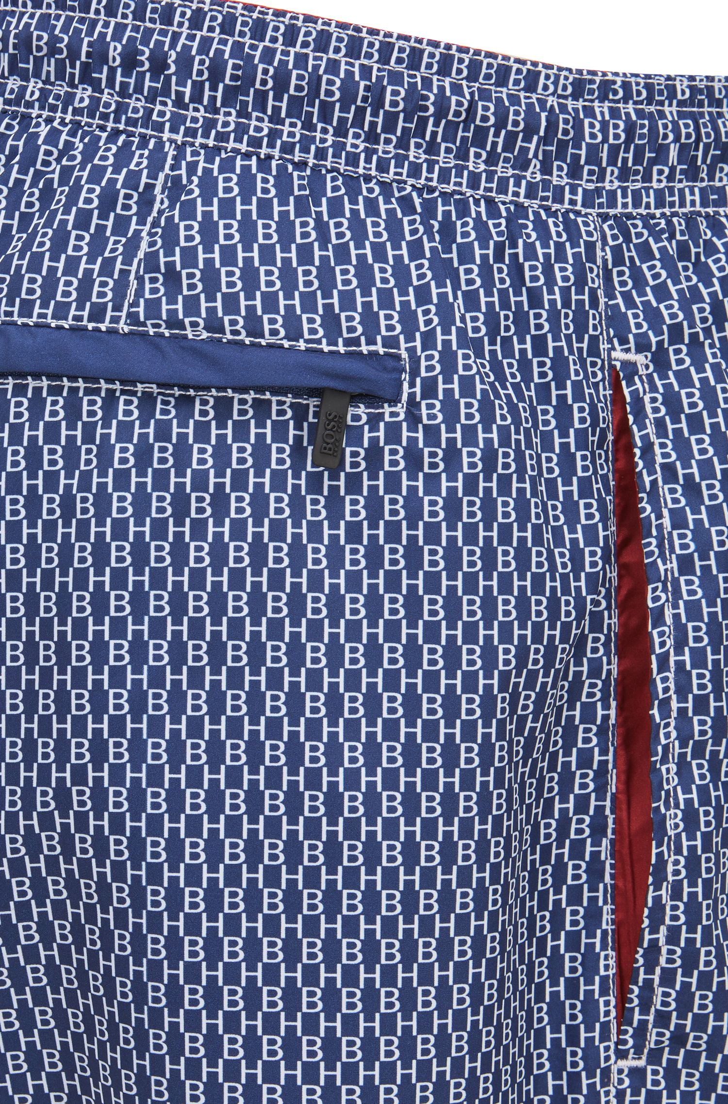 Quick-drying swim shorts with all-over monogram print, Open Blue