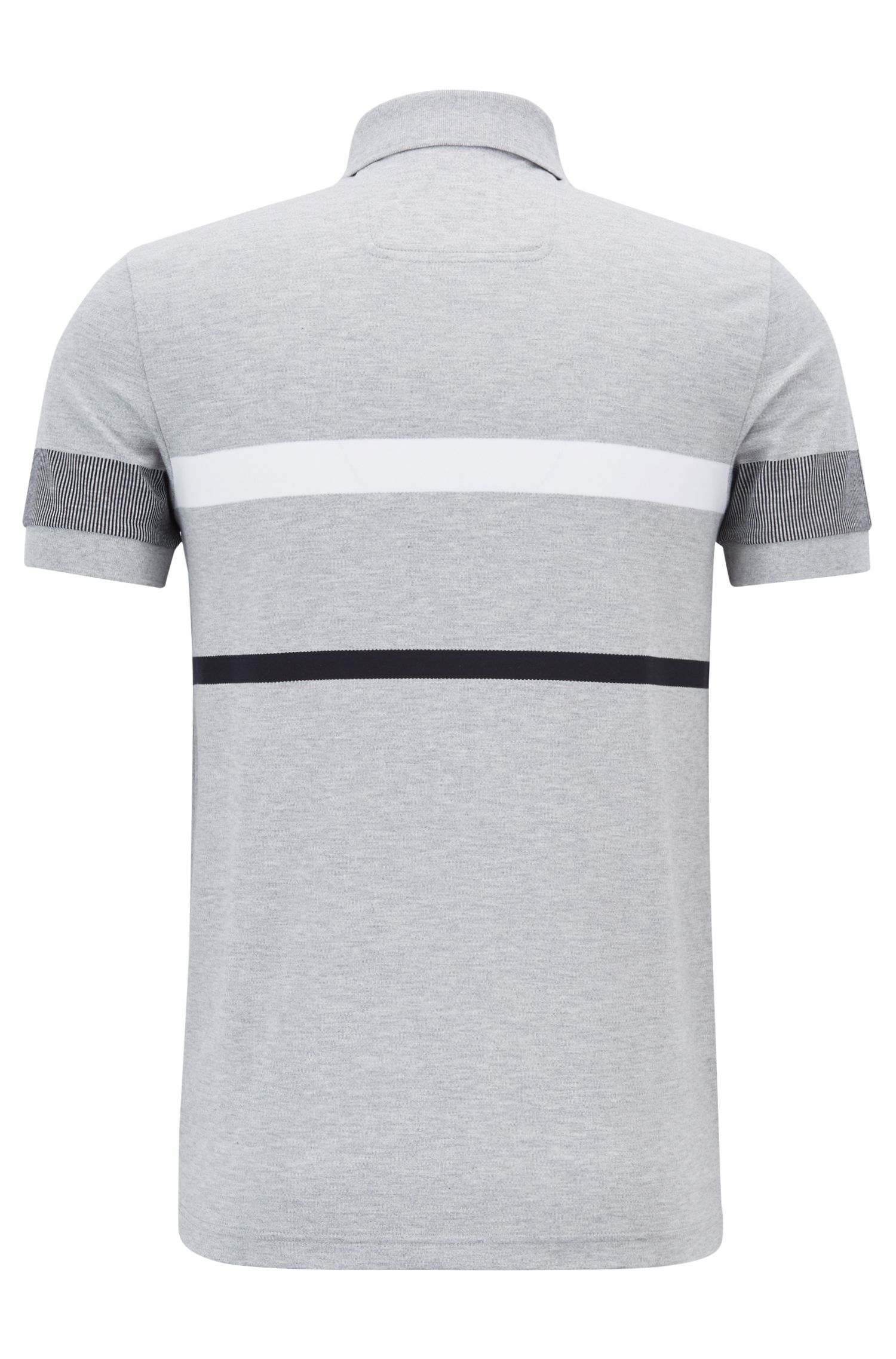 Slim-fit polo shirt with colour-block stripes, Light Grey