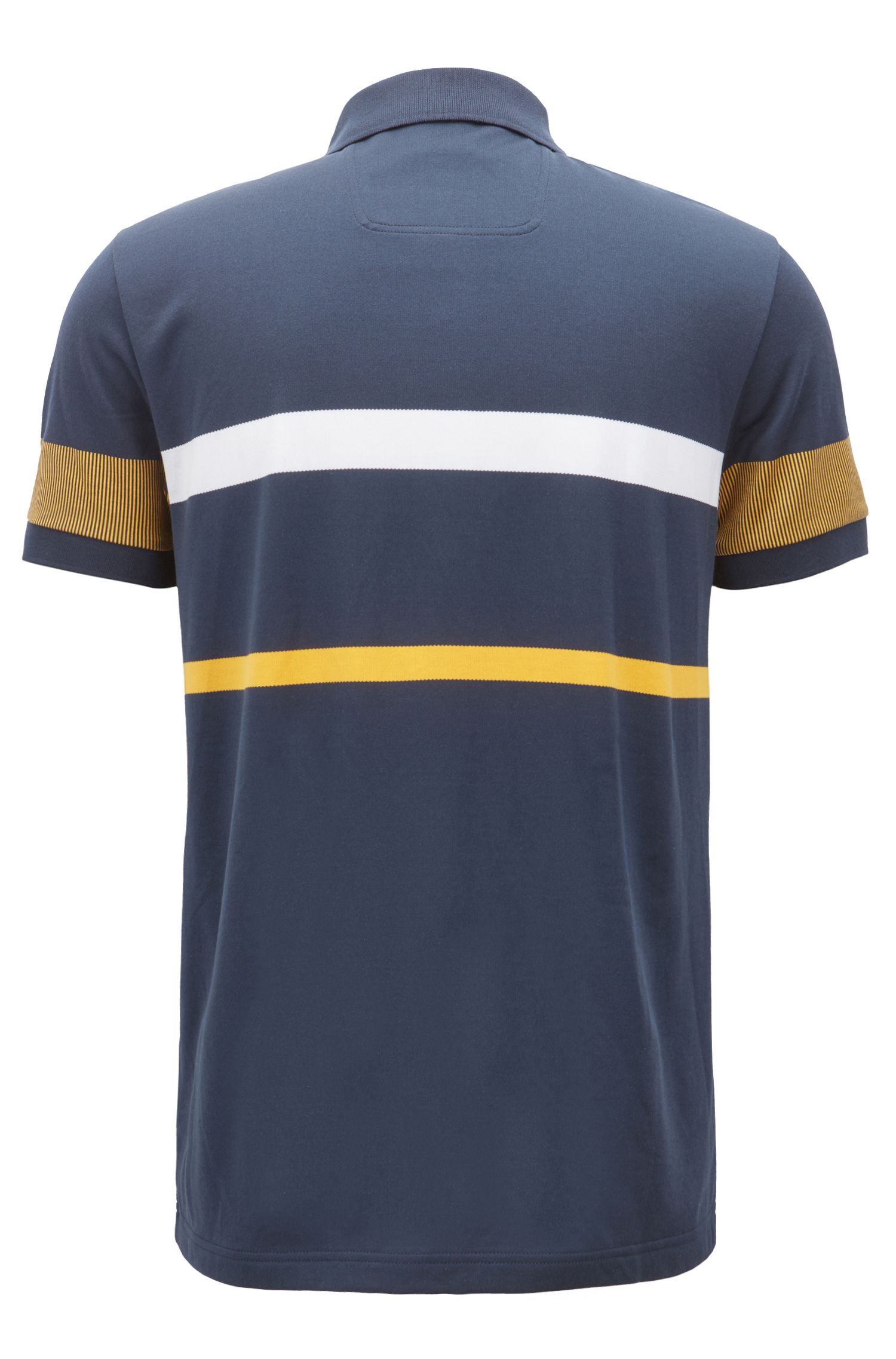 Slim-fit polo shirt with colour-block stripes, Dark Blue