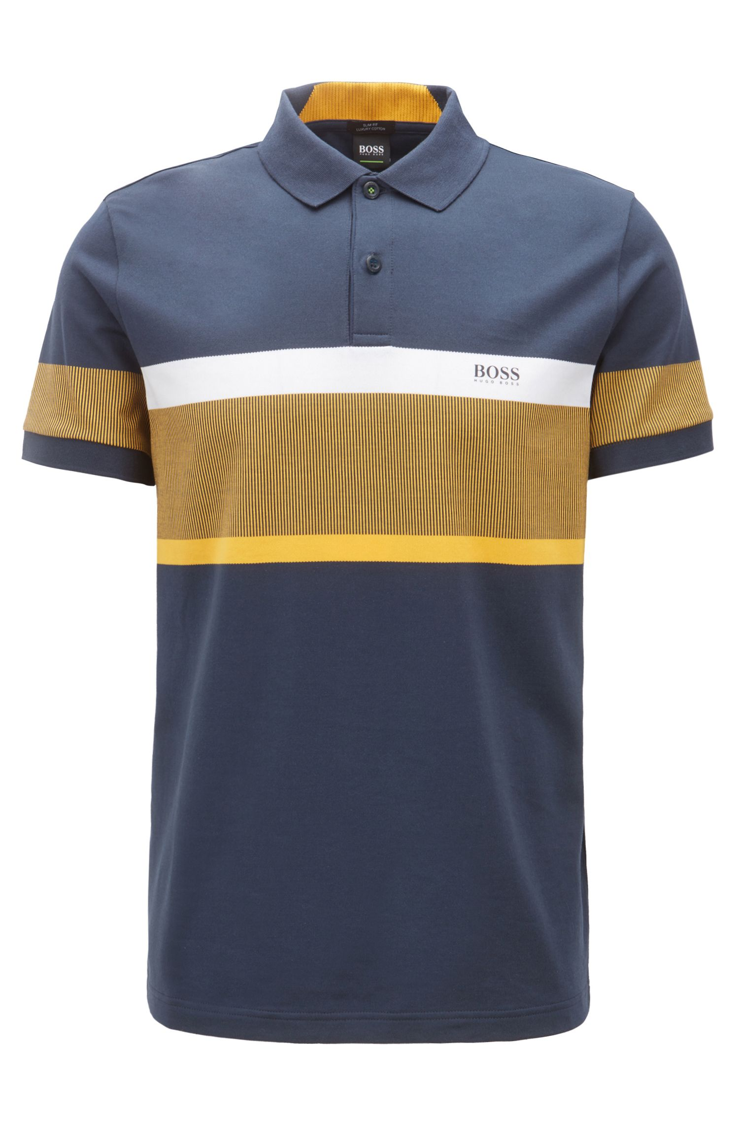 Polo slim fit con rayas en bloques de color, Azul oscuro