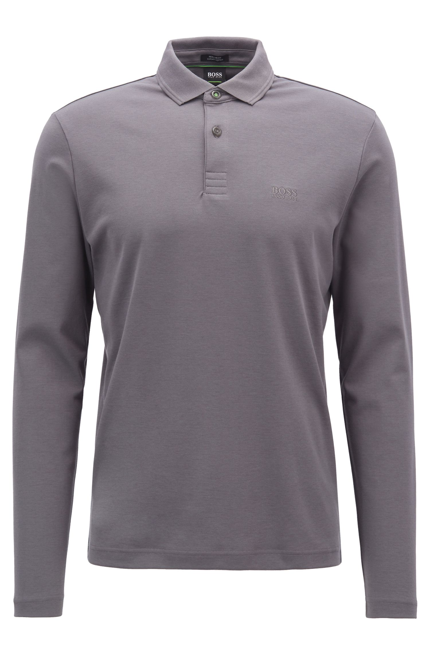 Long-sleeved polo shirt in cotton with contrast undercollar, Anthracite