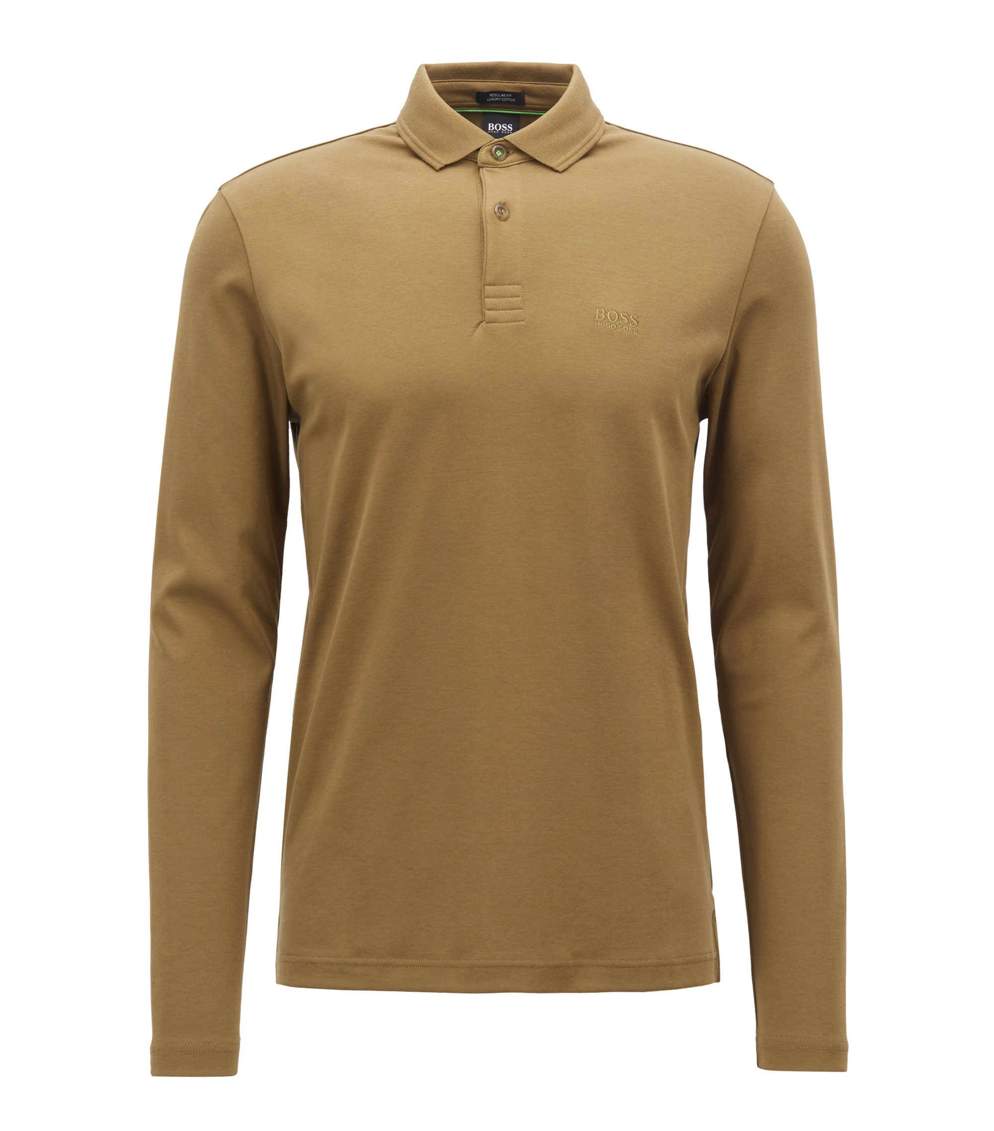 Long-sleeved polo shirt in cotton with contrast undercollar, Khaki