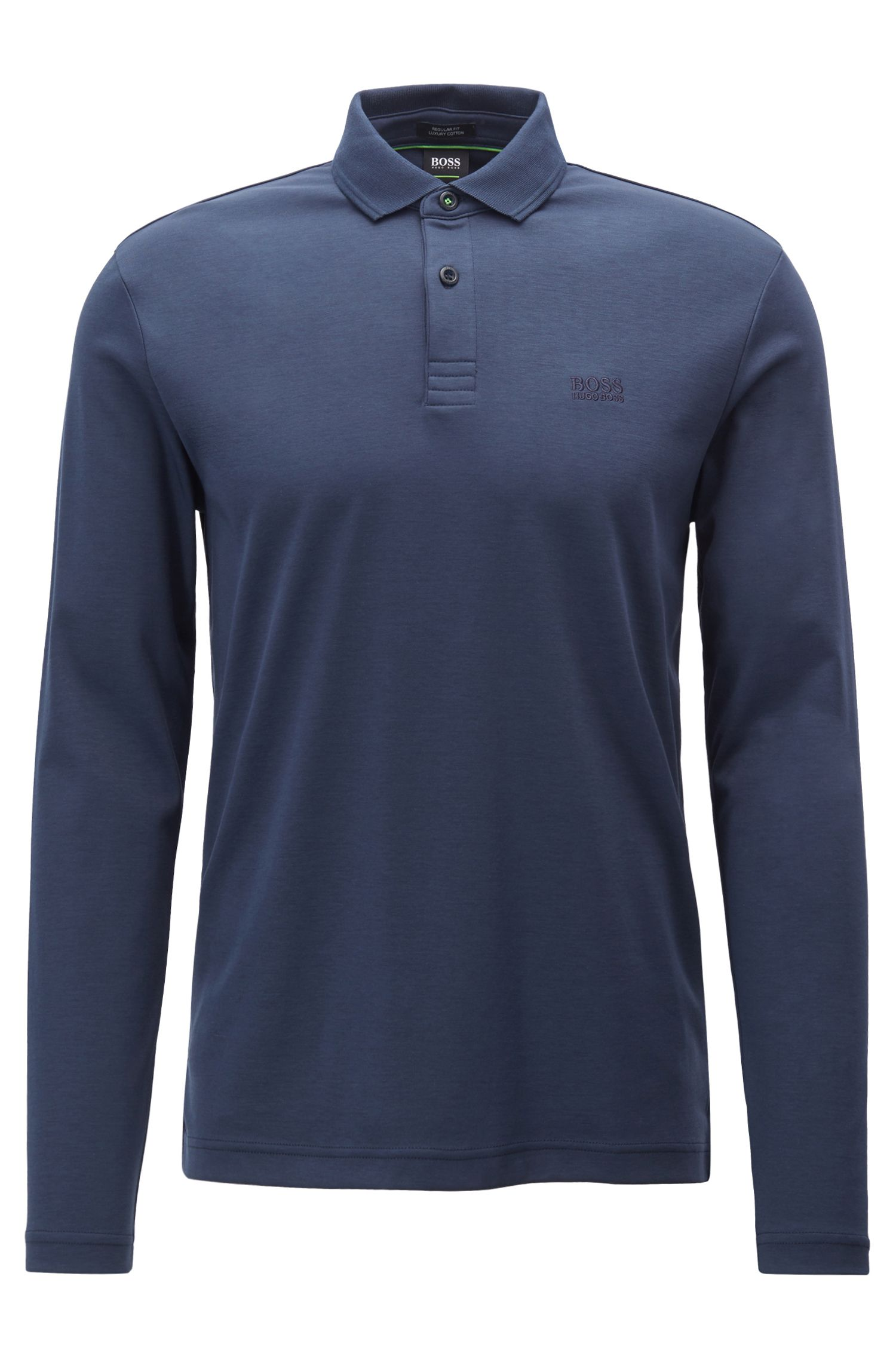 Long-sleeved polo shirt in cotton with contrast undercollar, Dark Blue