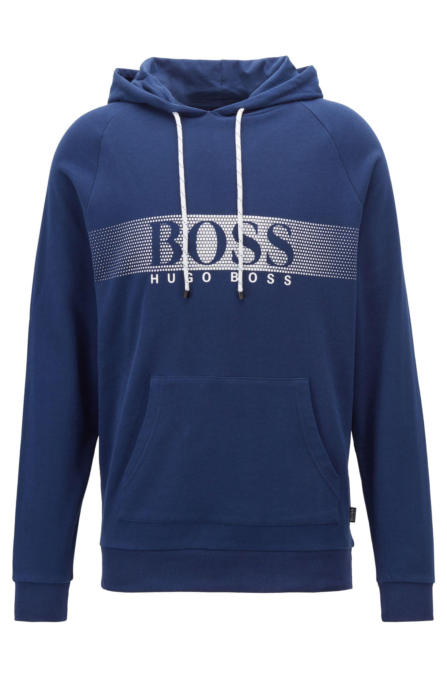 Relaxed-fit sweater met capuchon van katoen met logo in dégradé, Donkerblauw