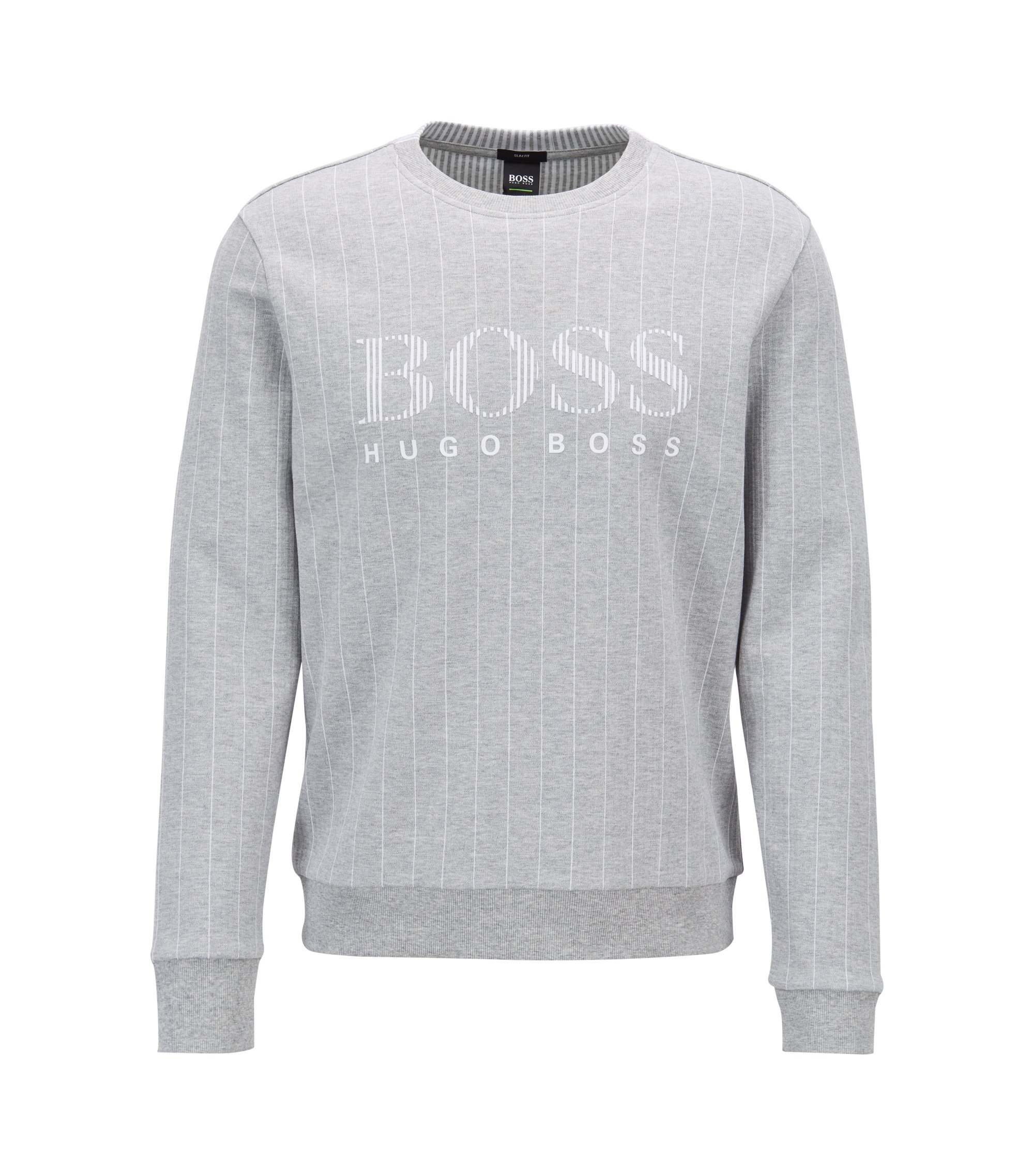 Slim-fit sweatshirt with flock-print logo and pinstripe, Light Grey