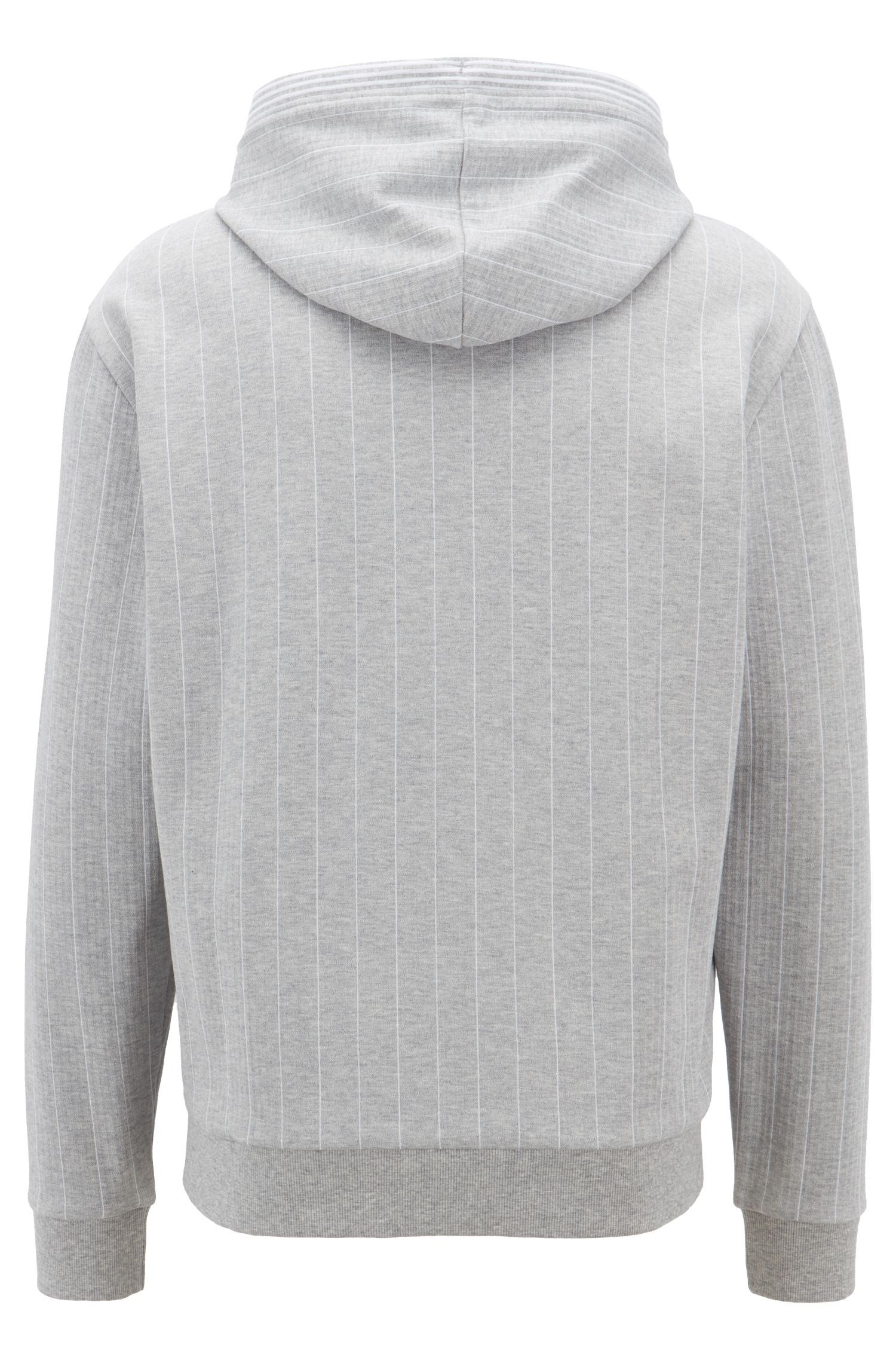 Hooded pinstripe sweatshirt in cotton with flock-print logo, Light Grey