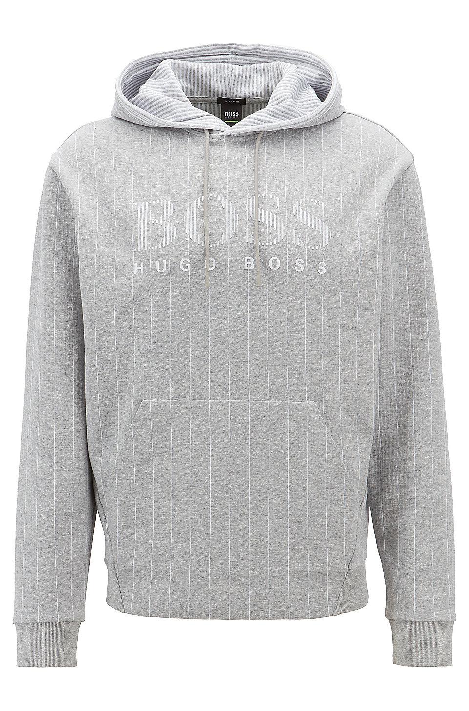 092dfc8203f4 BOSS - Hooded pinstripe sweatshirt in cotton with flock-print logo