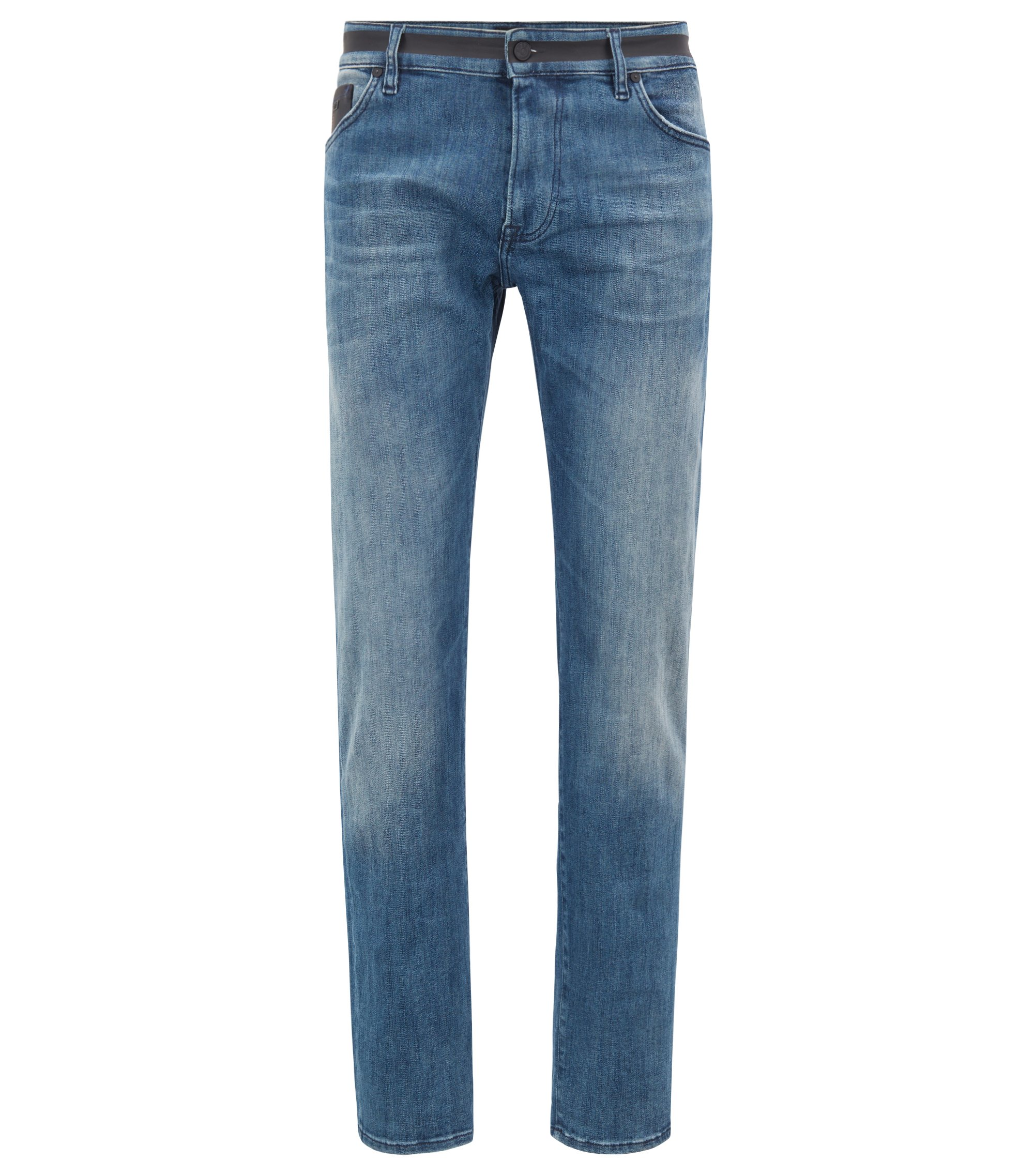 Regular-fit jeans in stretch denim with black detailing, Blue