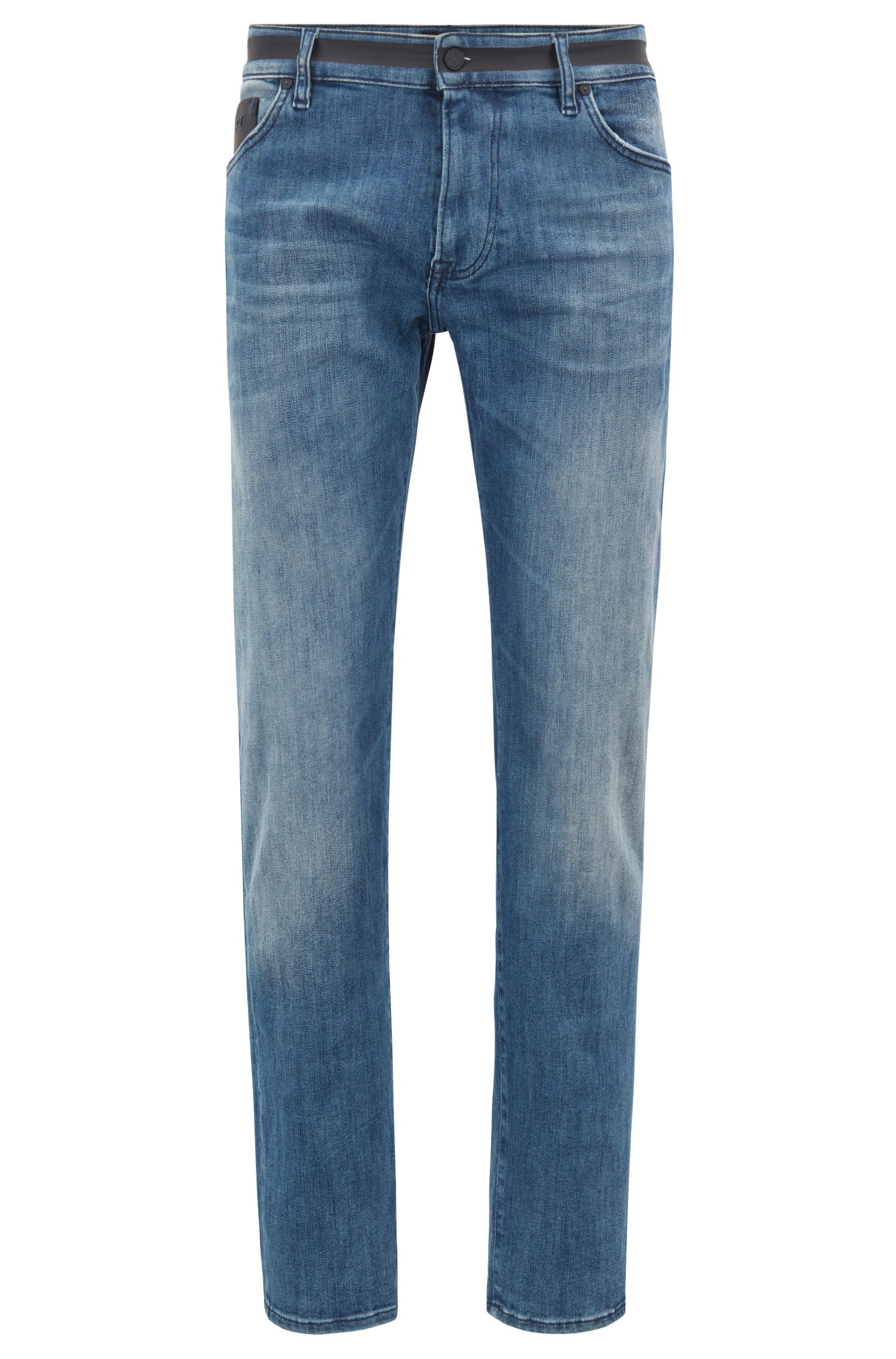 Jean Regular Fit en denim stretch avec empiècements noirs, Bleu