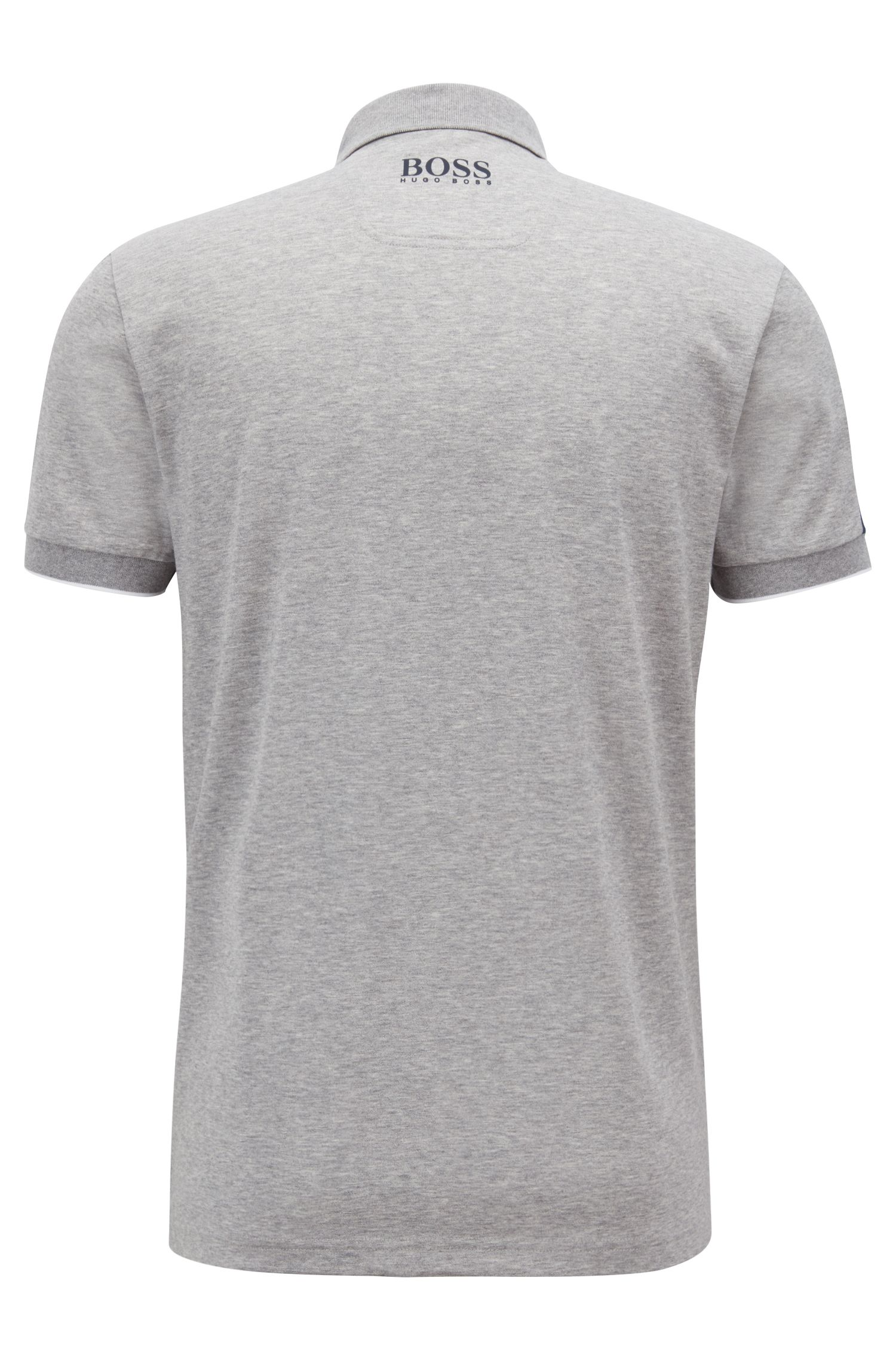 Polo shirt in a cotton blend with moisture management, Light Grey