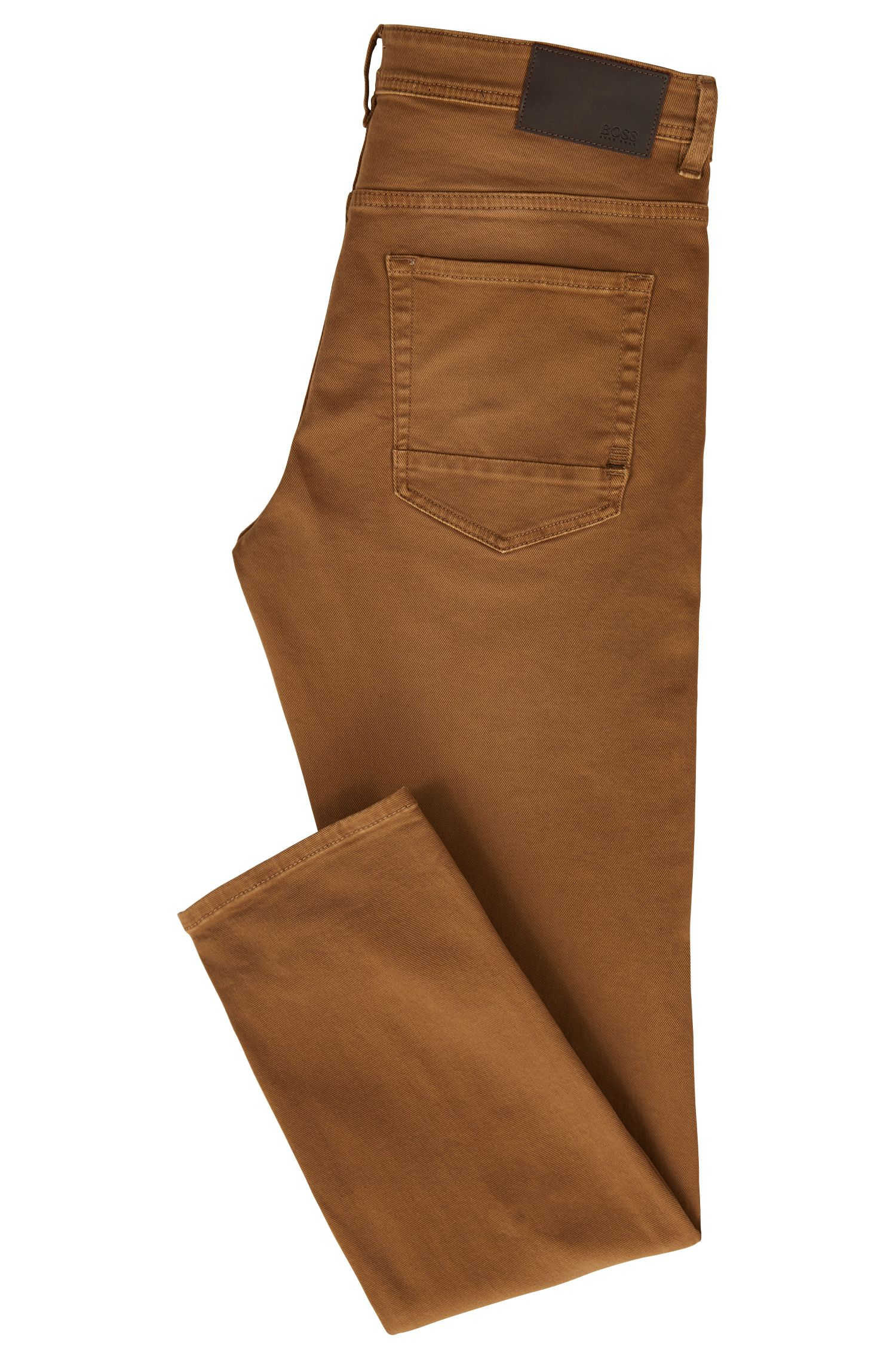 Tapered-fit jeans in een twill van comfortabel stretchdenim, Bruin