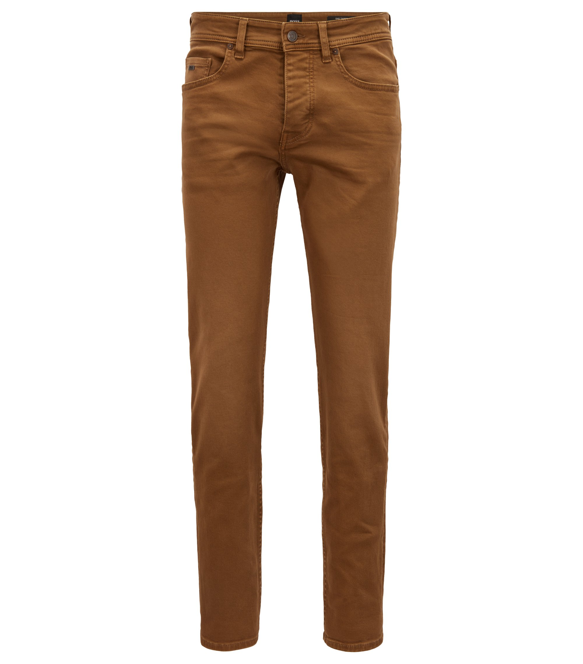 Jean Tapered Fit en twill denim au confort stretch, Marron