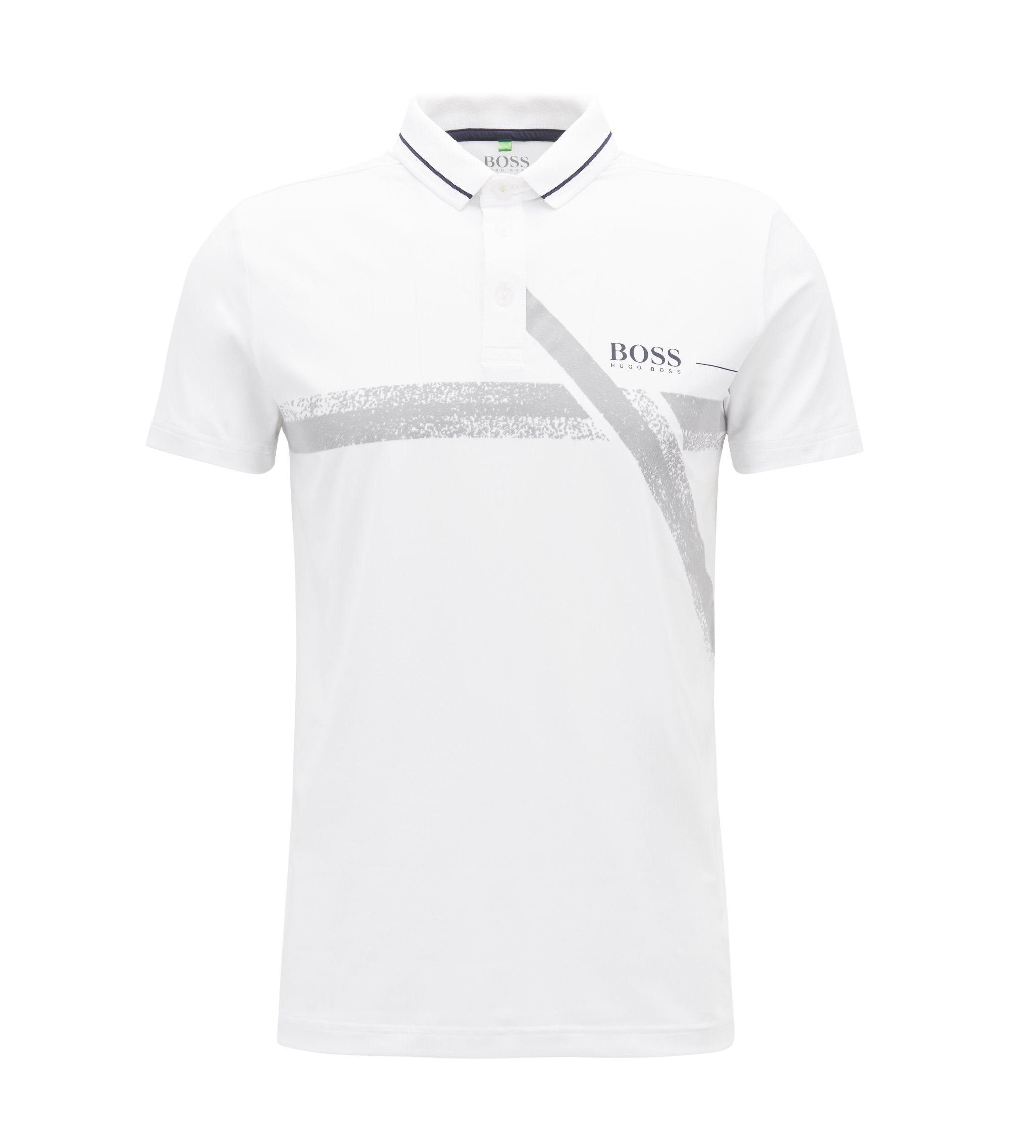 Slim-fit polo shirt with moisture management, White